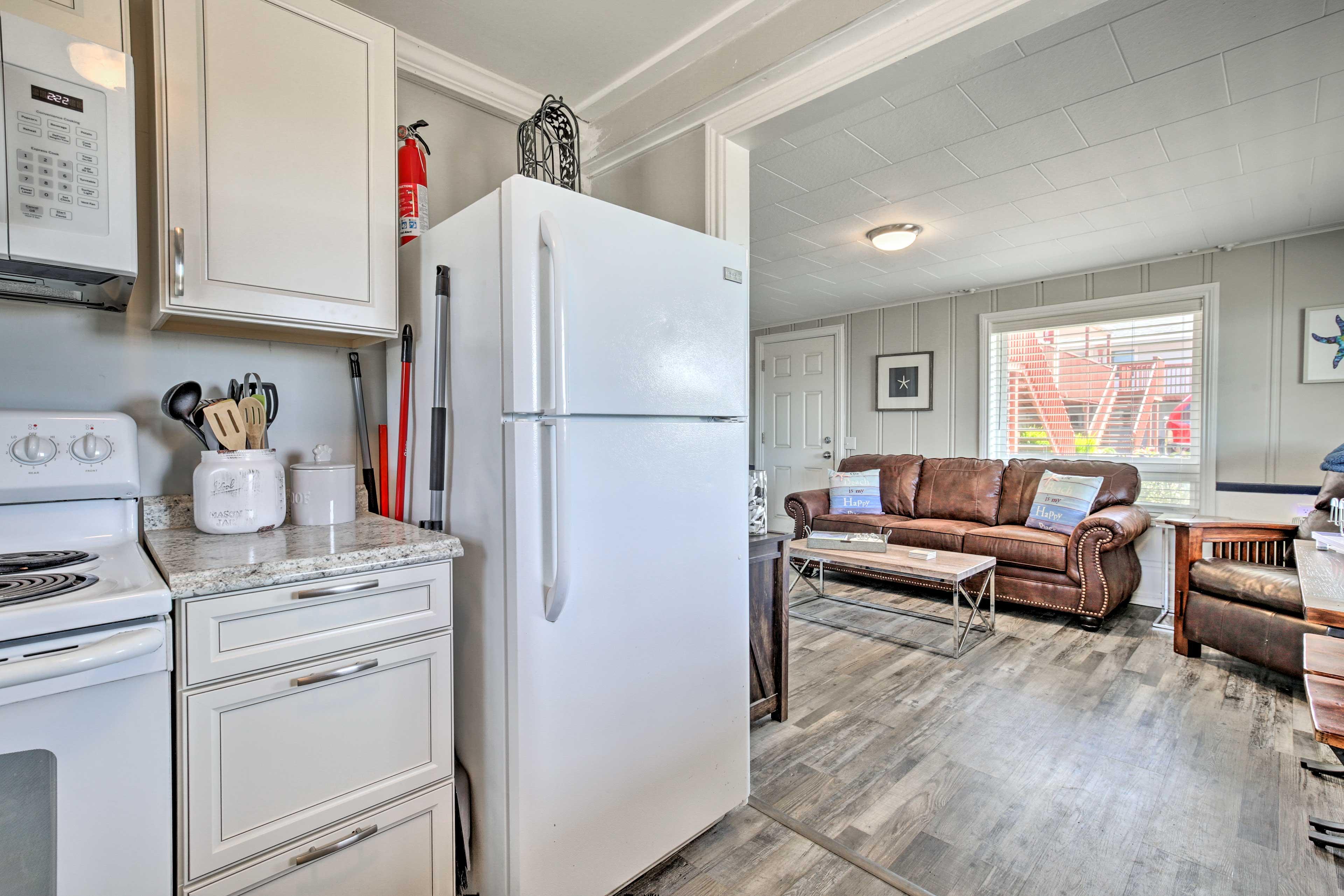 The kitchen is tucked just around the corner!