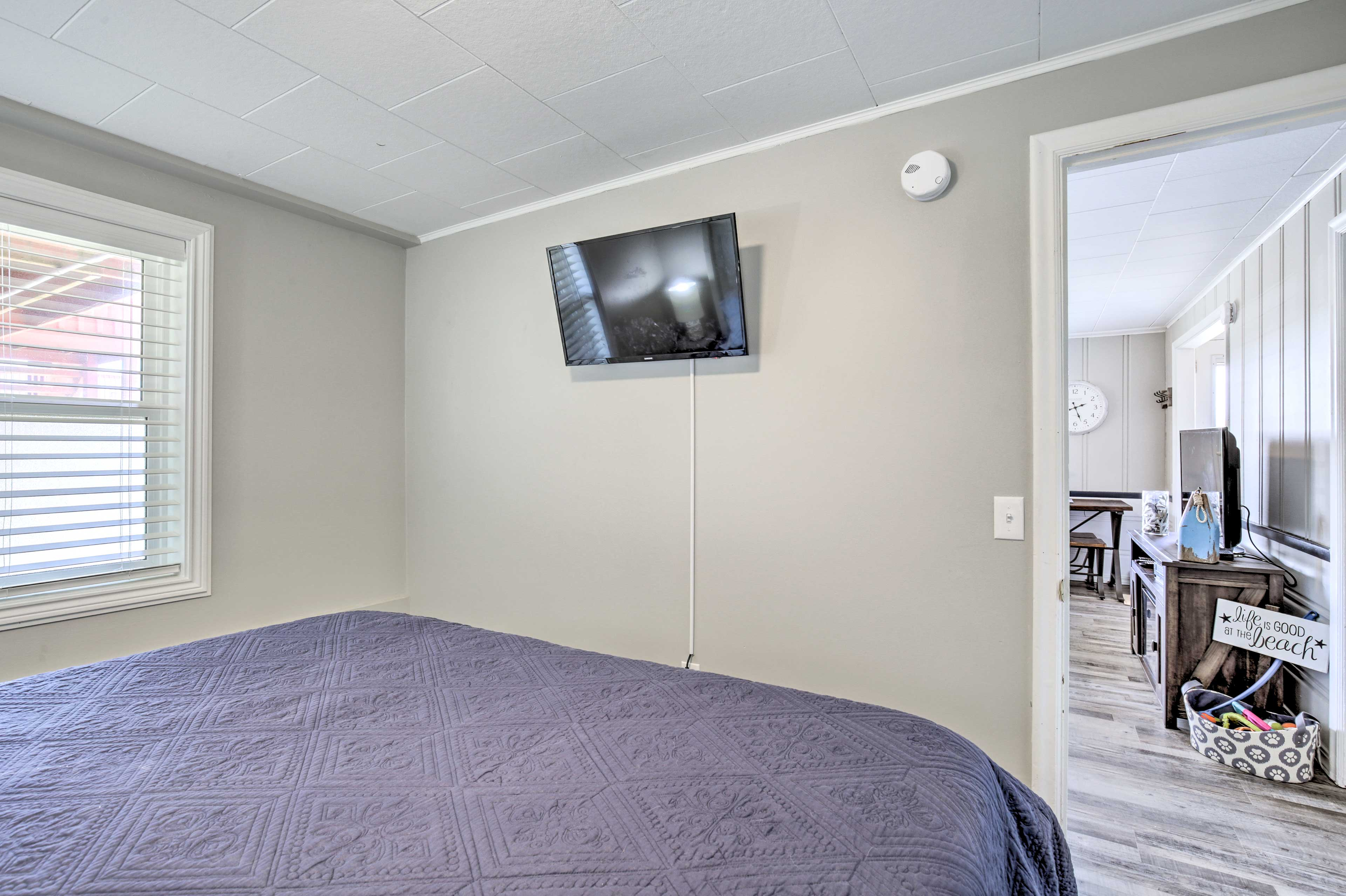 Drift to sleep while watching a movie or TV on the flat-screen!