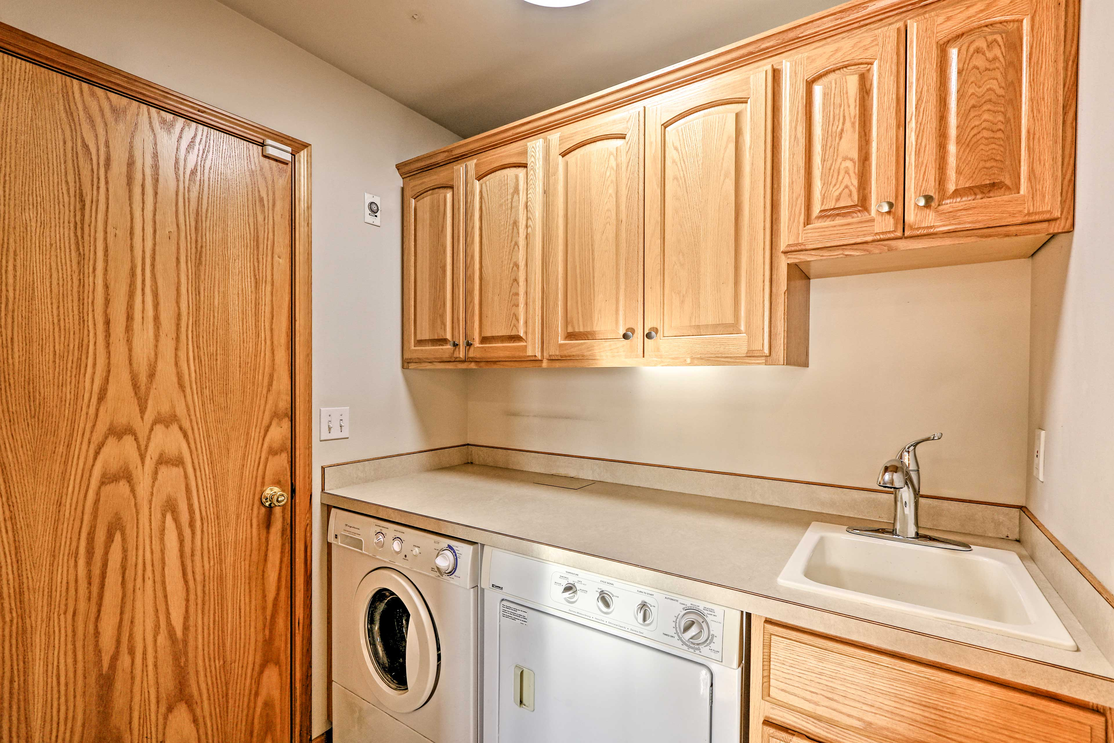 Keep clothes fresh with the washer and dryer.