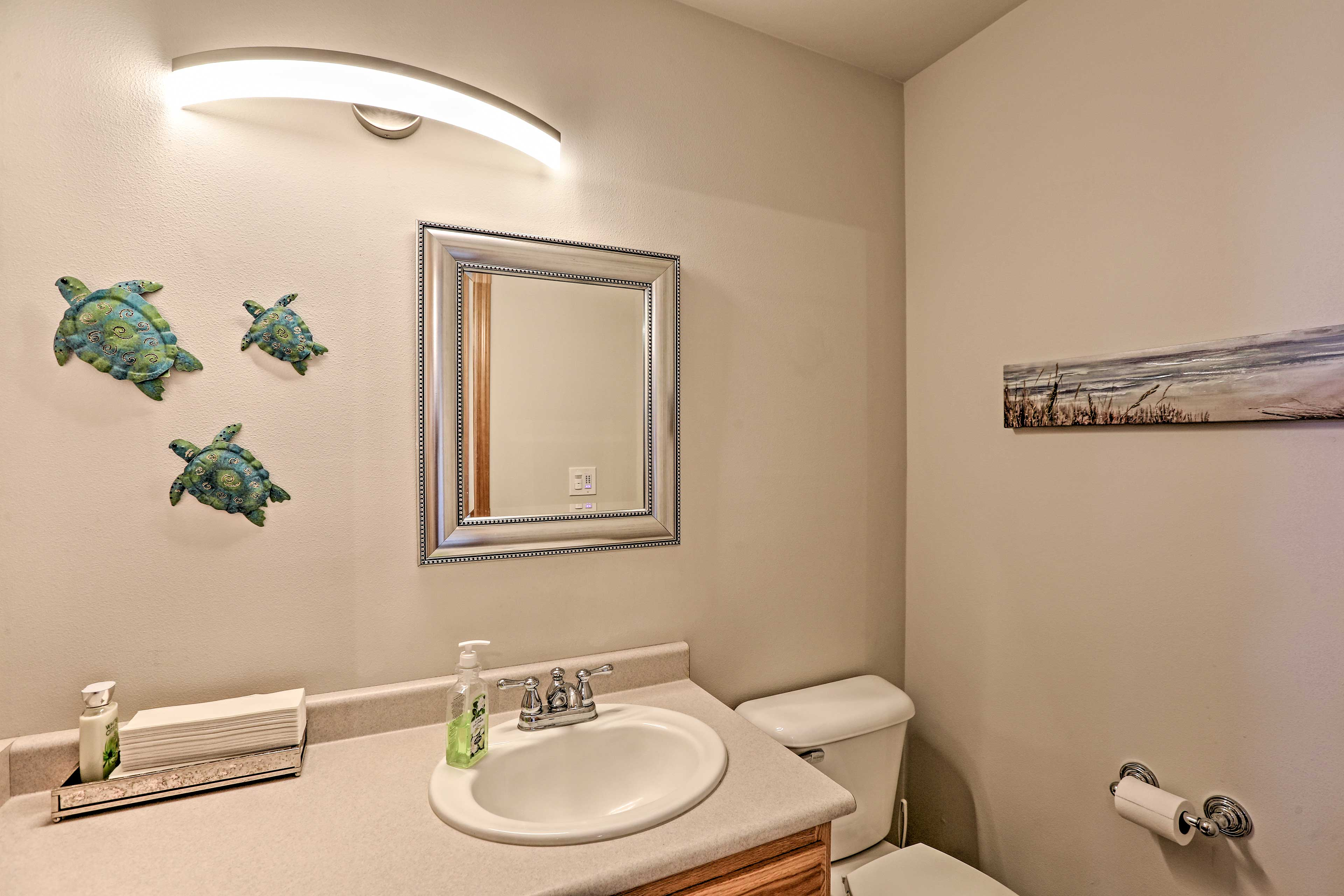 Feel refreshed with the convenient half bath.