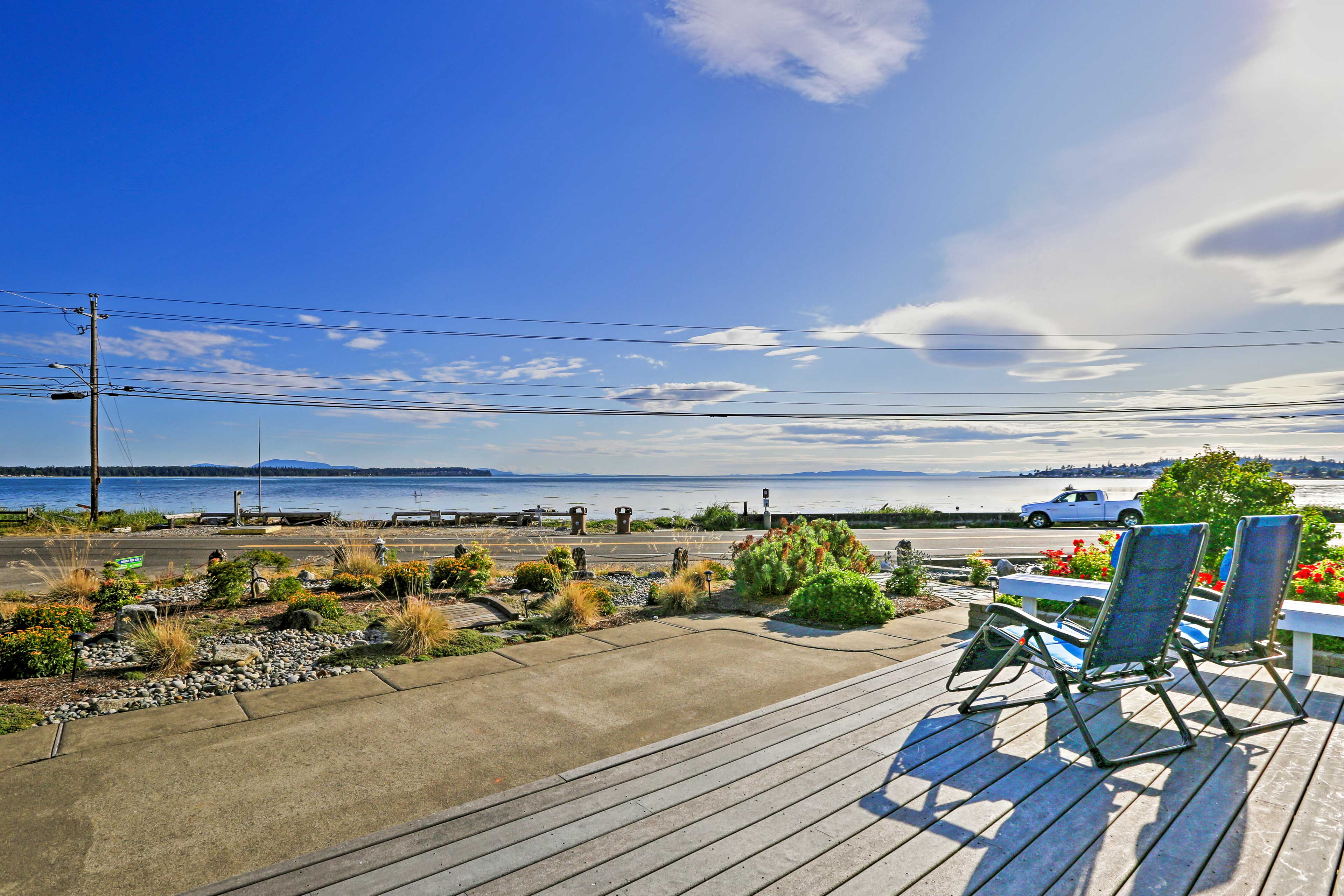 Stroll the beach just steps from your back deck.