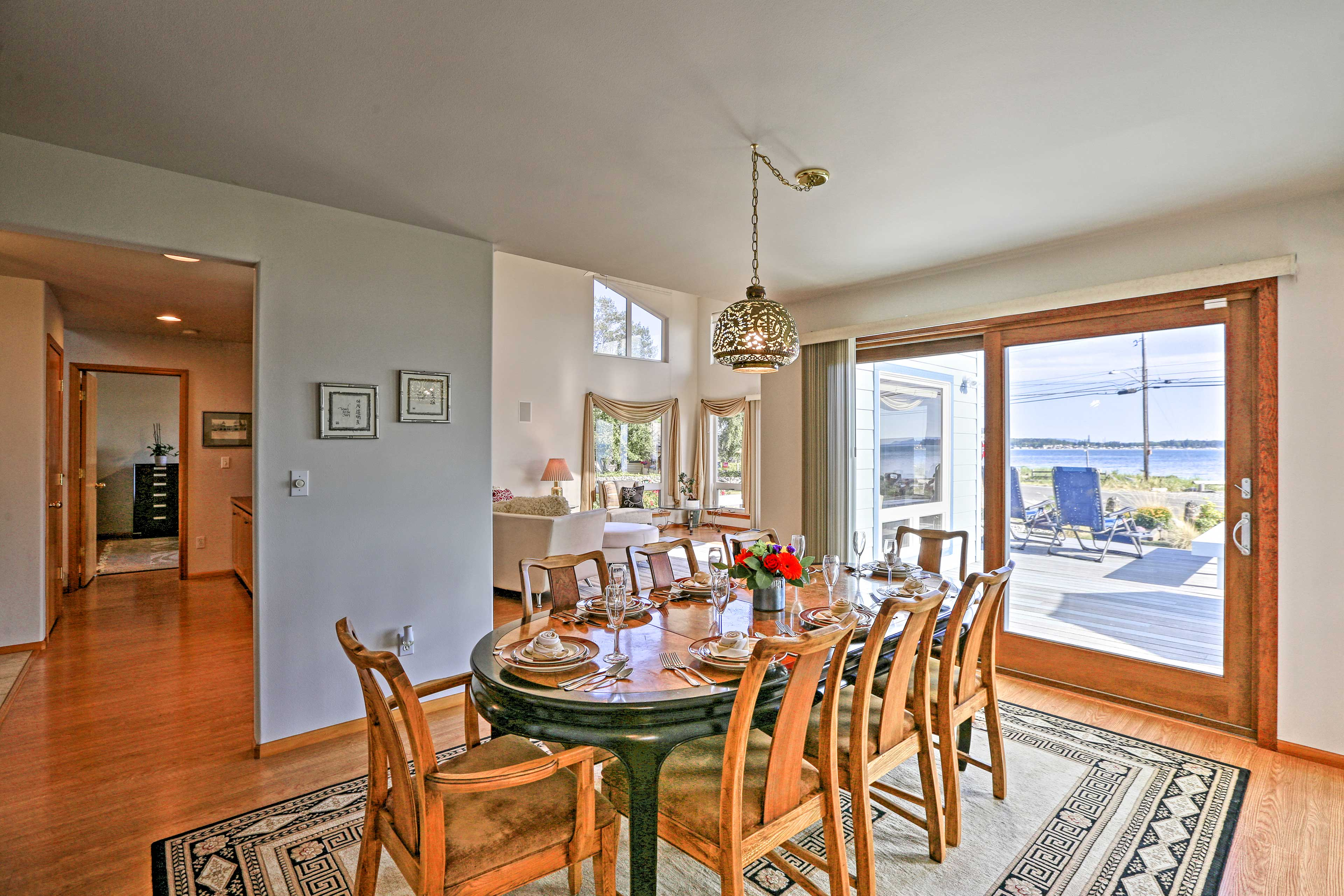 Enjoy a meal at the 8-person dining table.