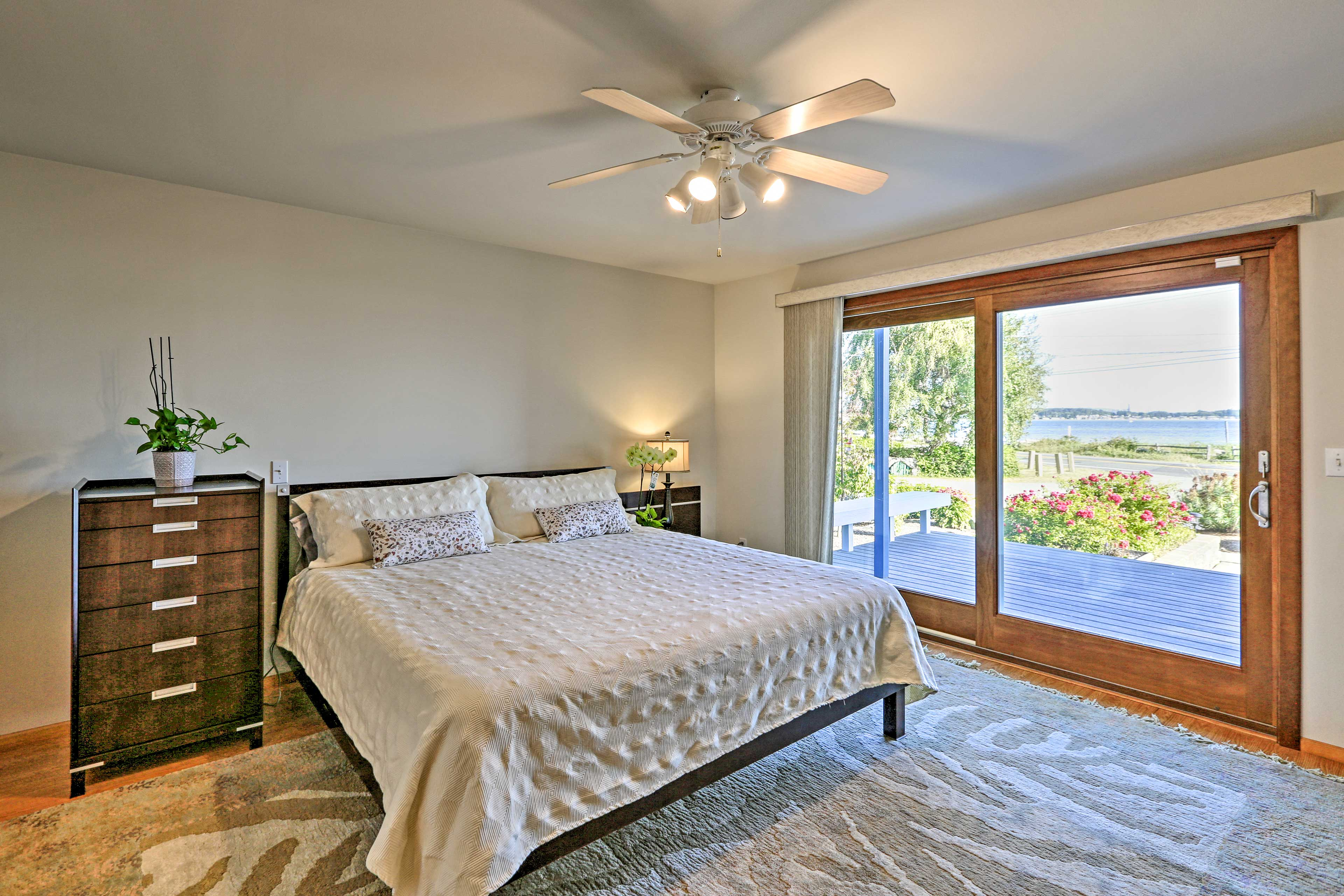 Drift off to sleep in the master bedroom's king-sized bed.