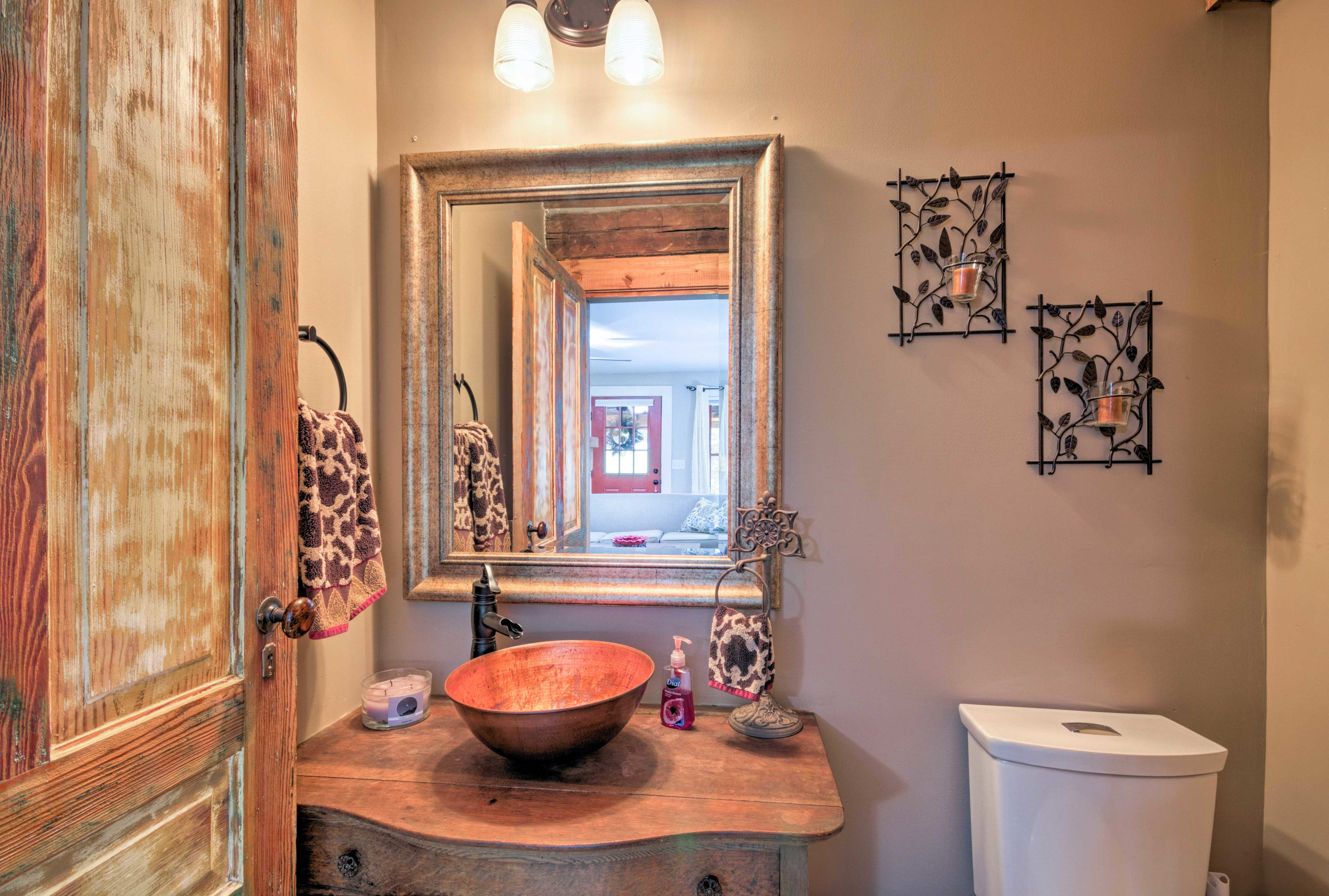 Rinse up before dinner in the half bath.