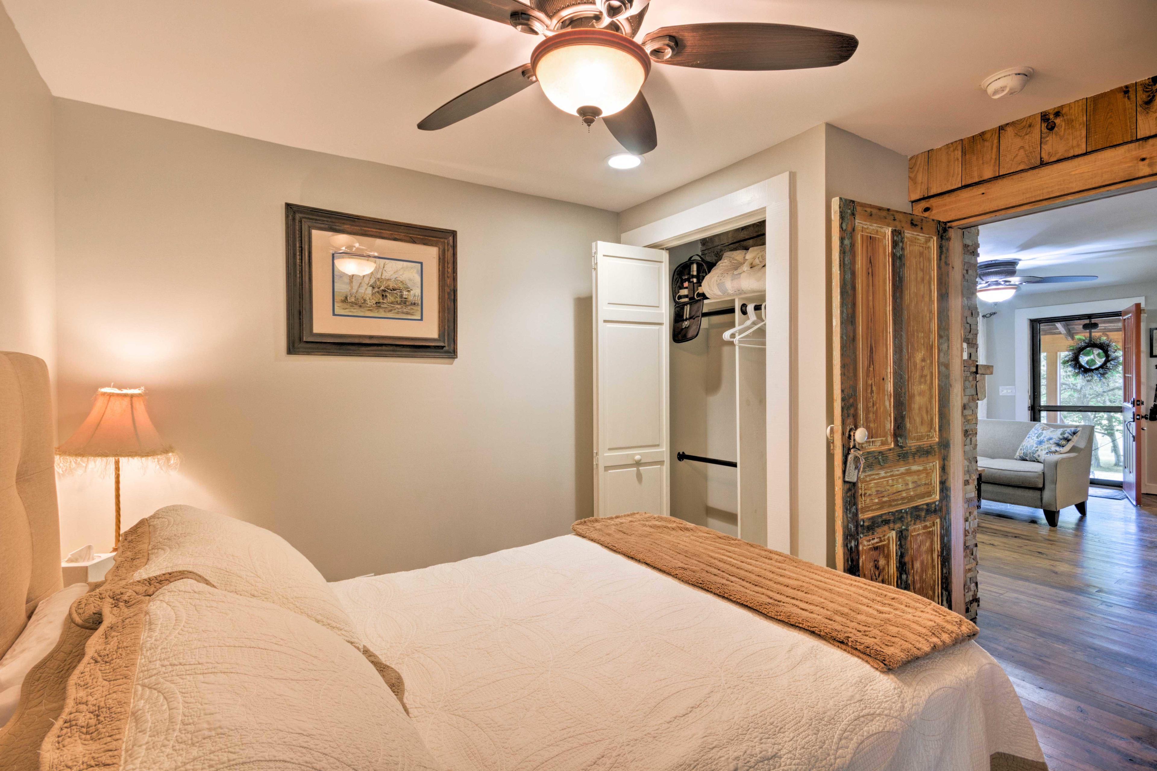 The second bedroom includes a full-sized bed.
