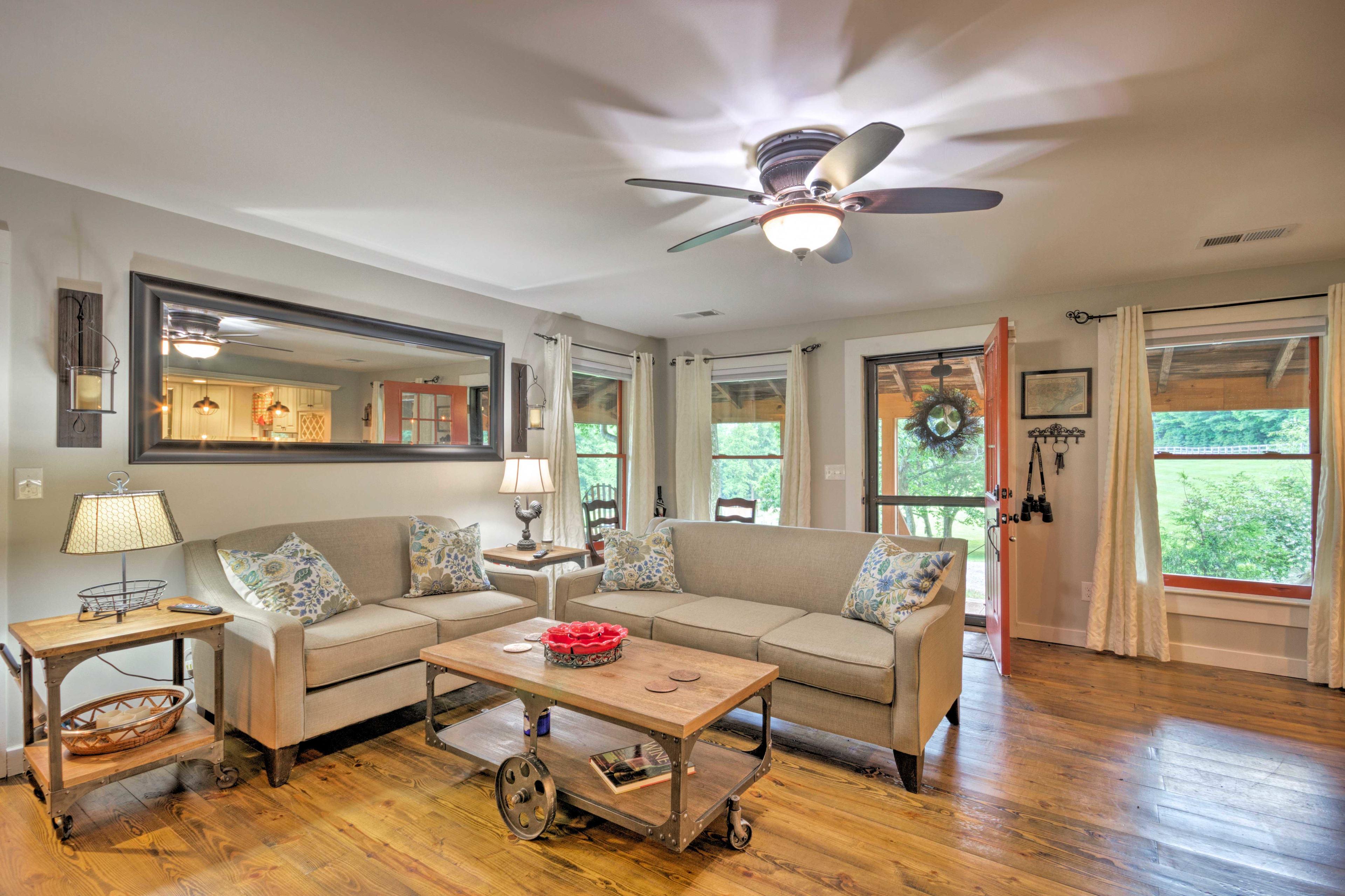 Chic modern farmhouse-style decor defines the interior.
