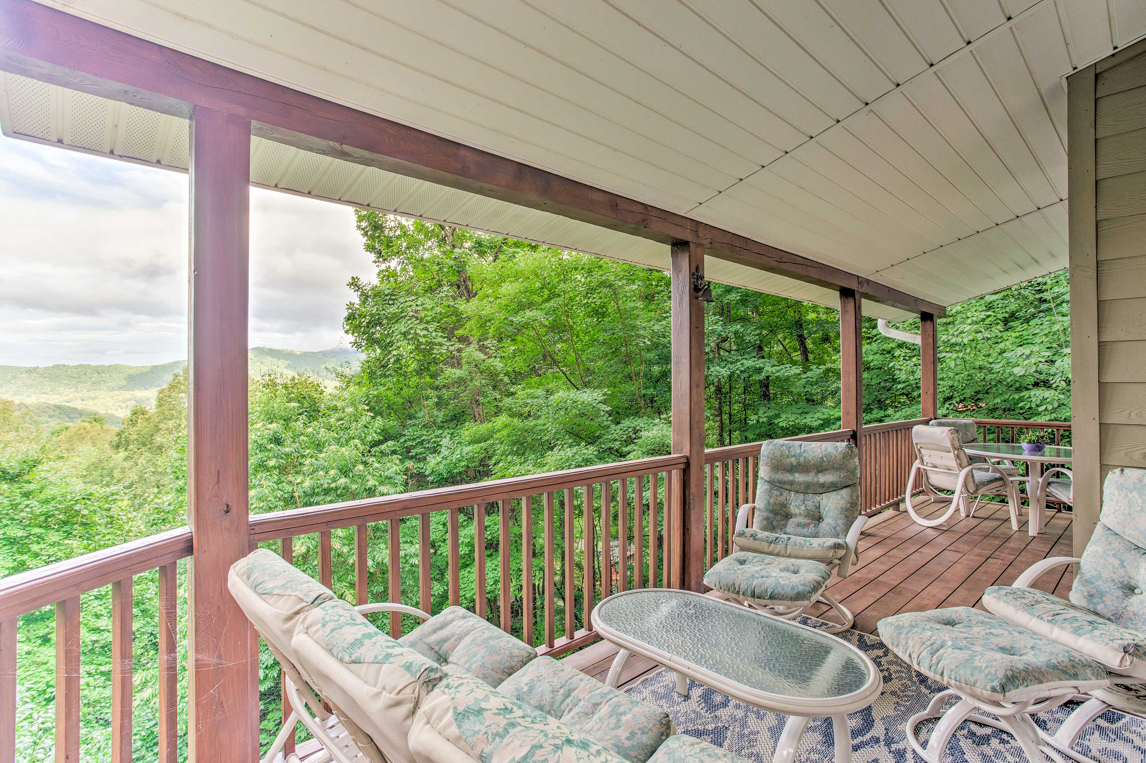 Private Covered Deck | Mountain Views
