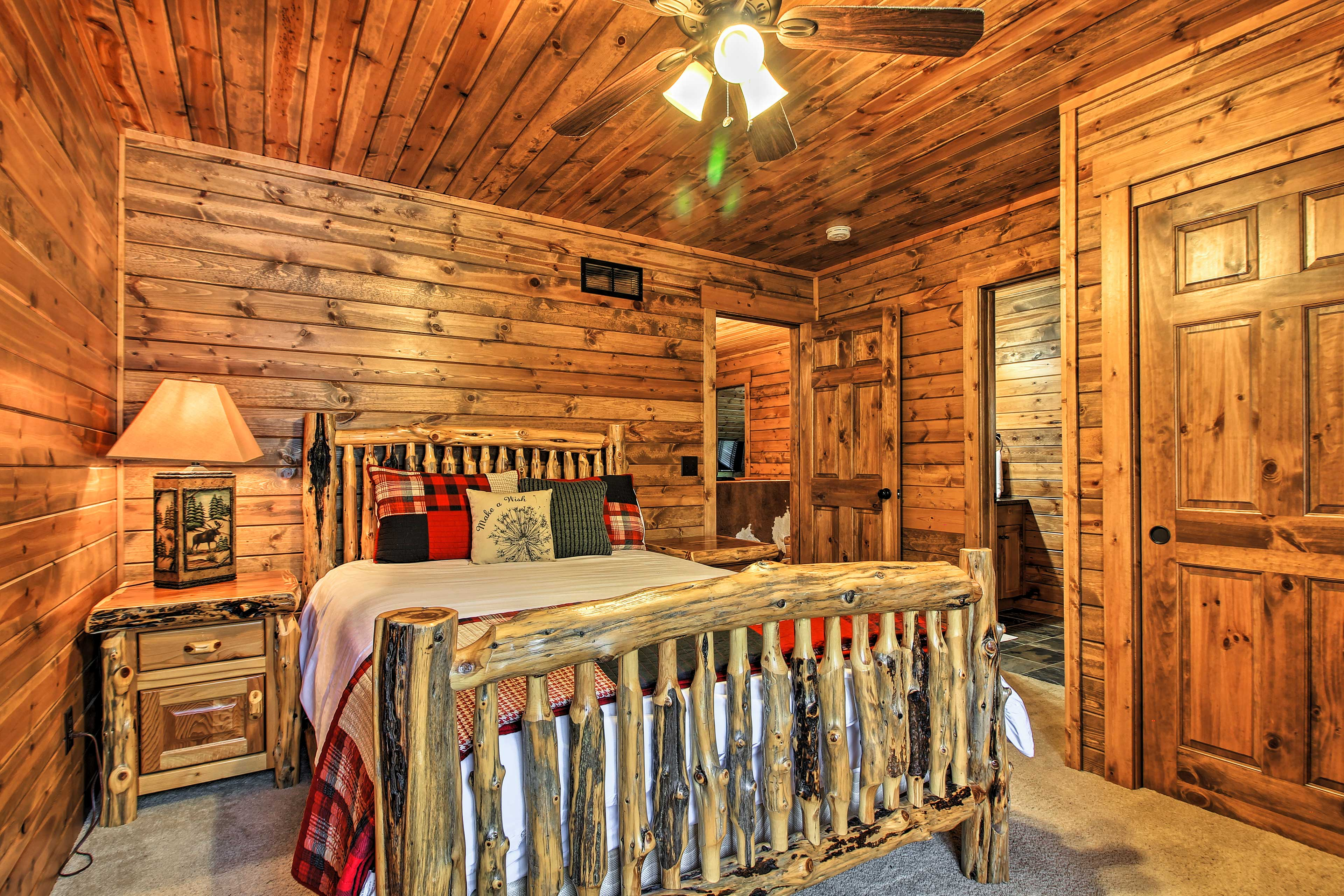 Rustic bedrooms set a relaxing environment.