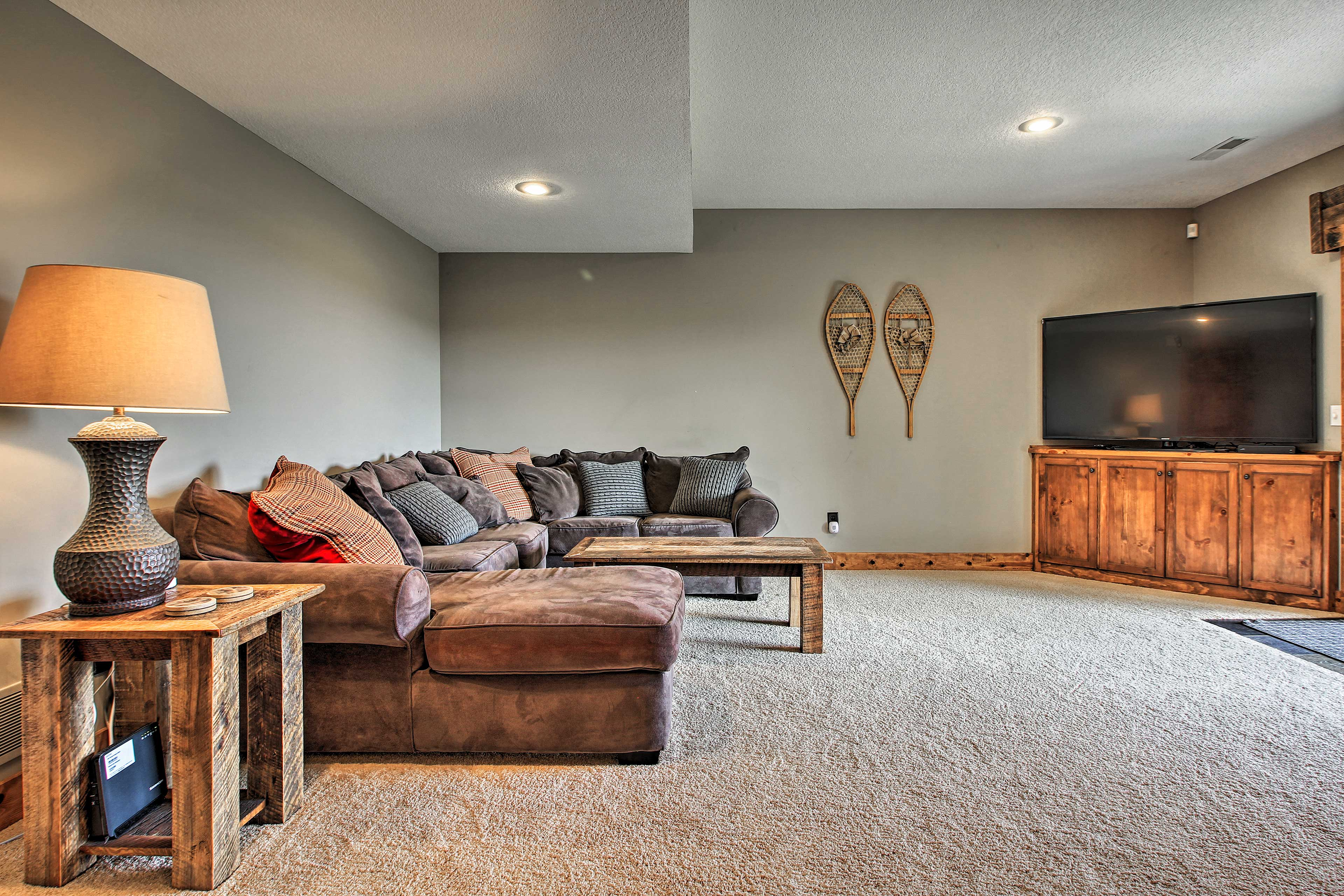 Spread out on the sectional and watch a favorite movie.