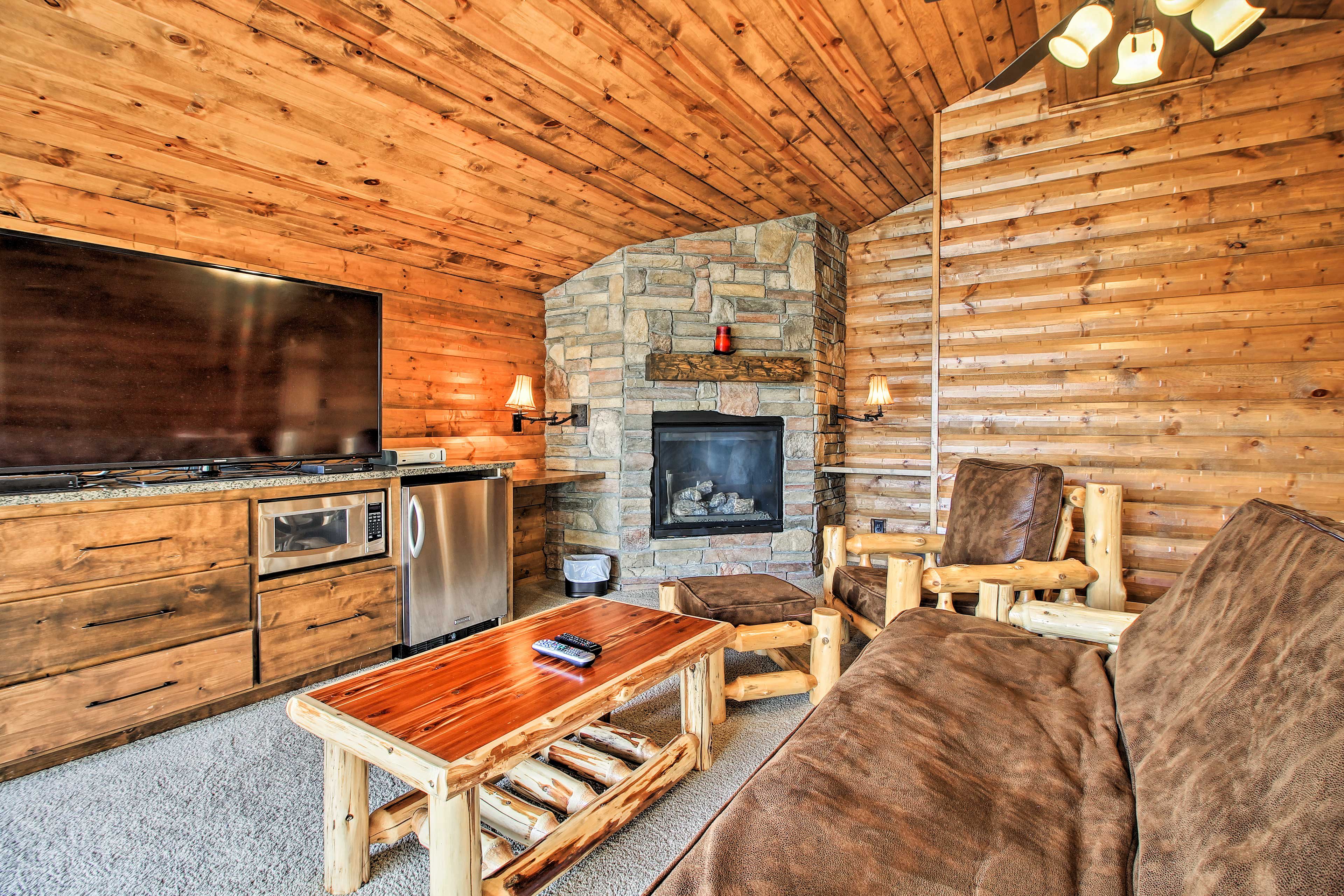 The bunkhouse includes this fantastic lounge space.