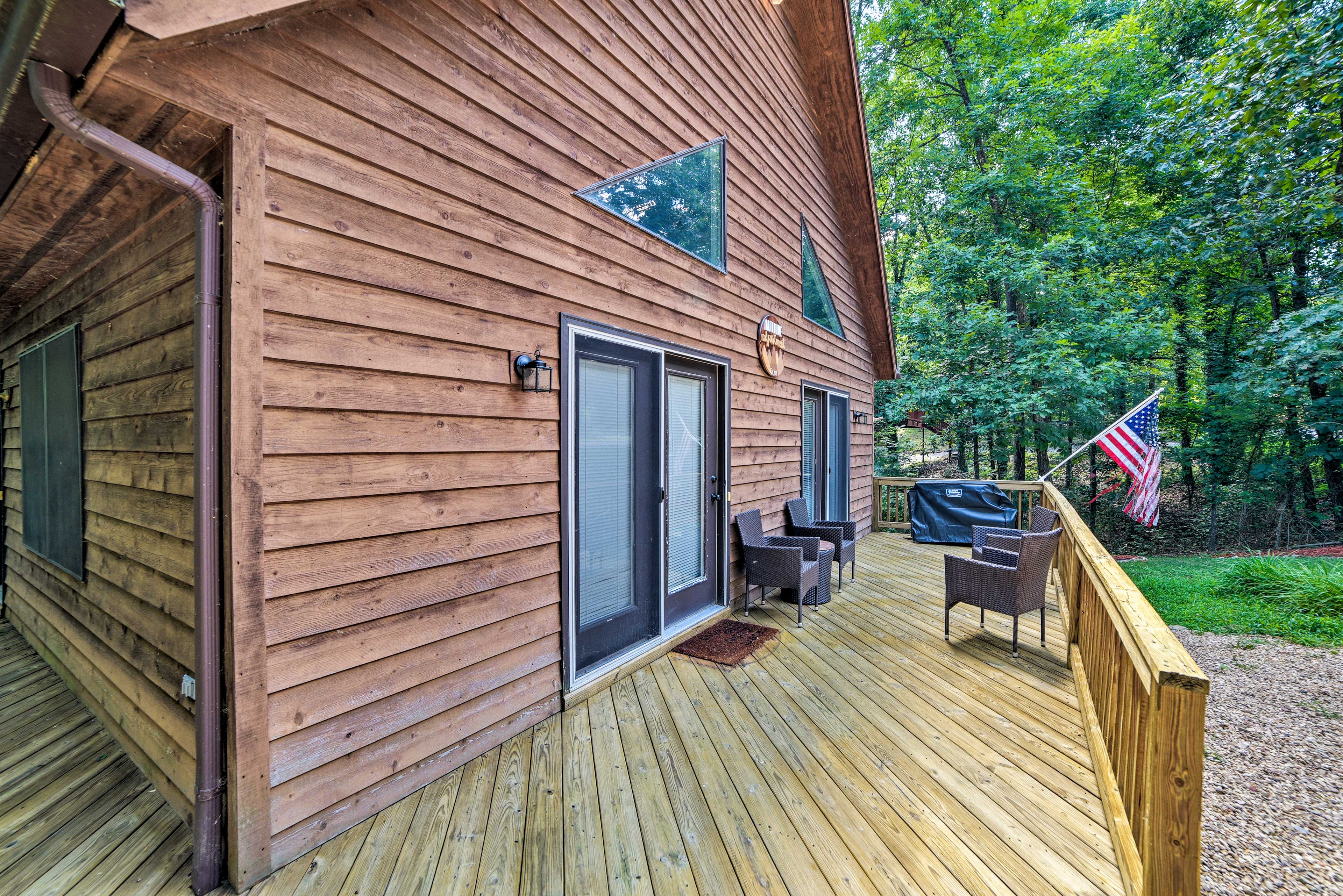 Tranquil views surround the cabin.