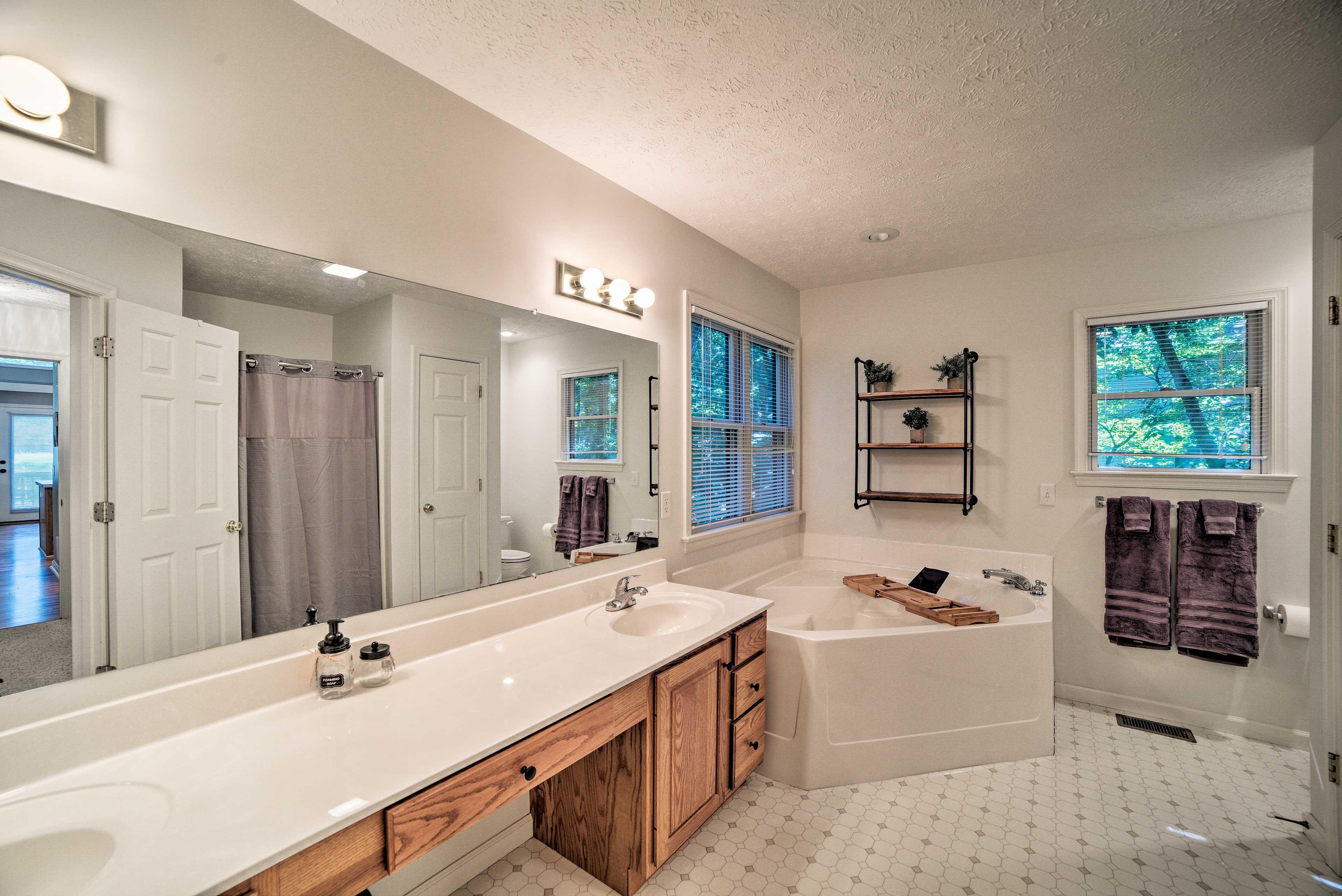 The master en-suite bath boasts a double vanity.