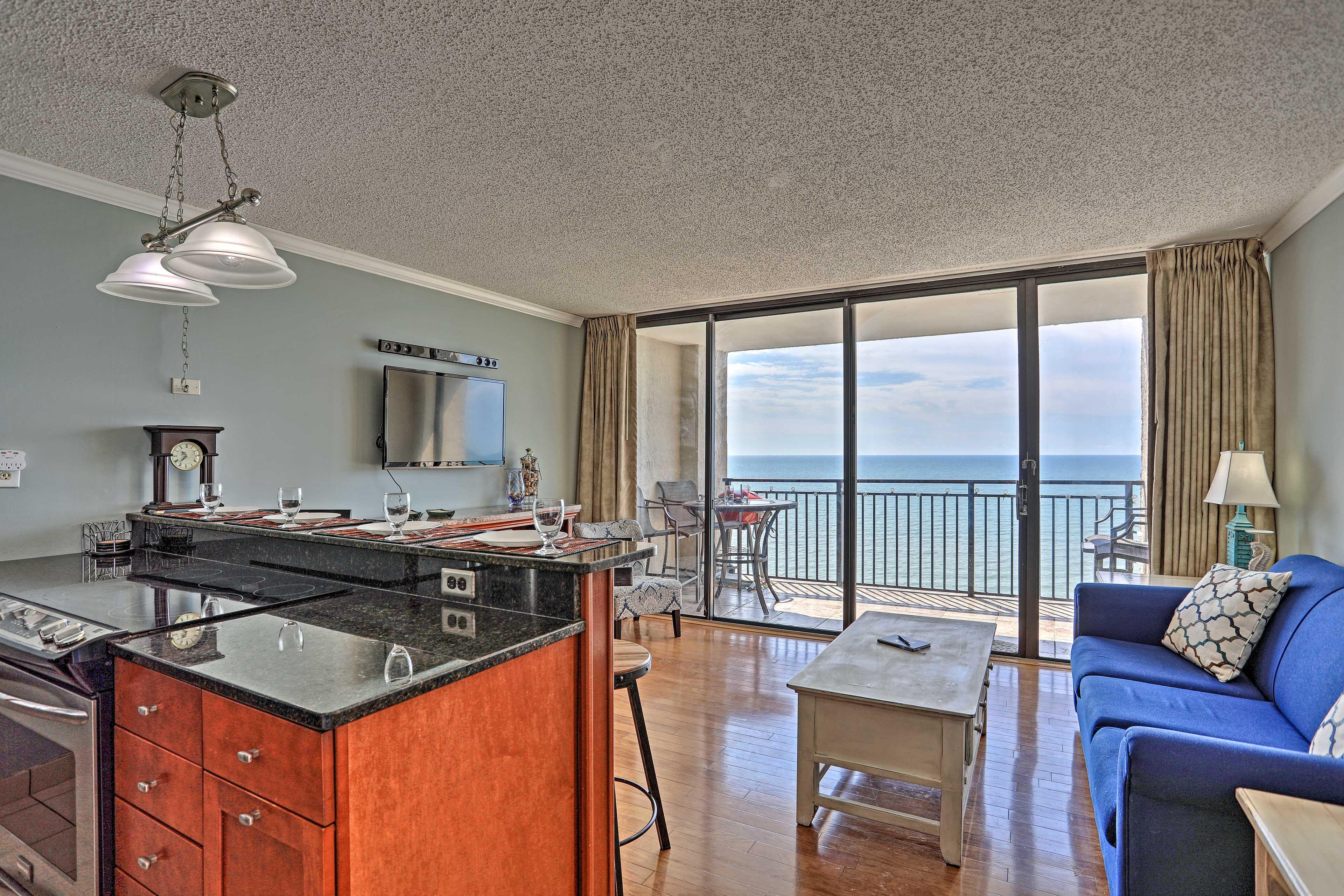 This Myrtle Beach vacation rental sleeps 4 and boasts ocean views.