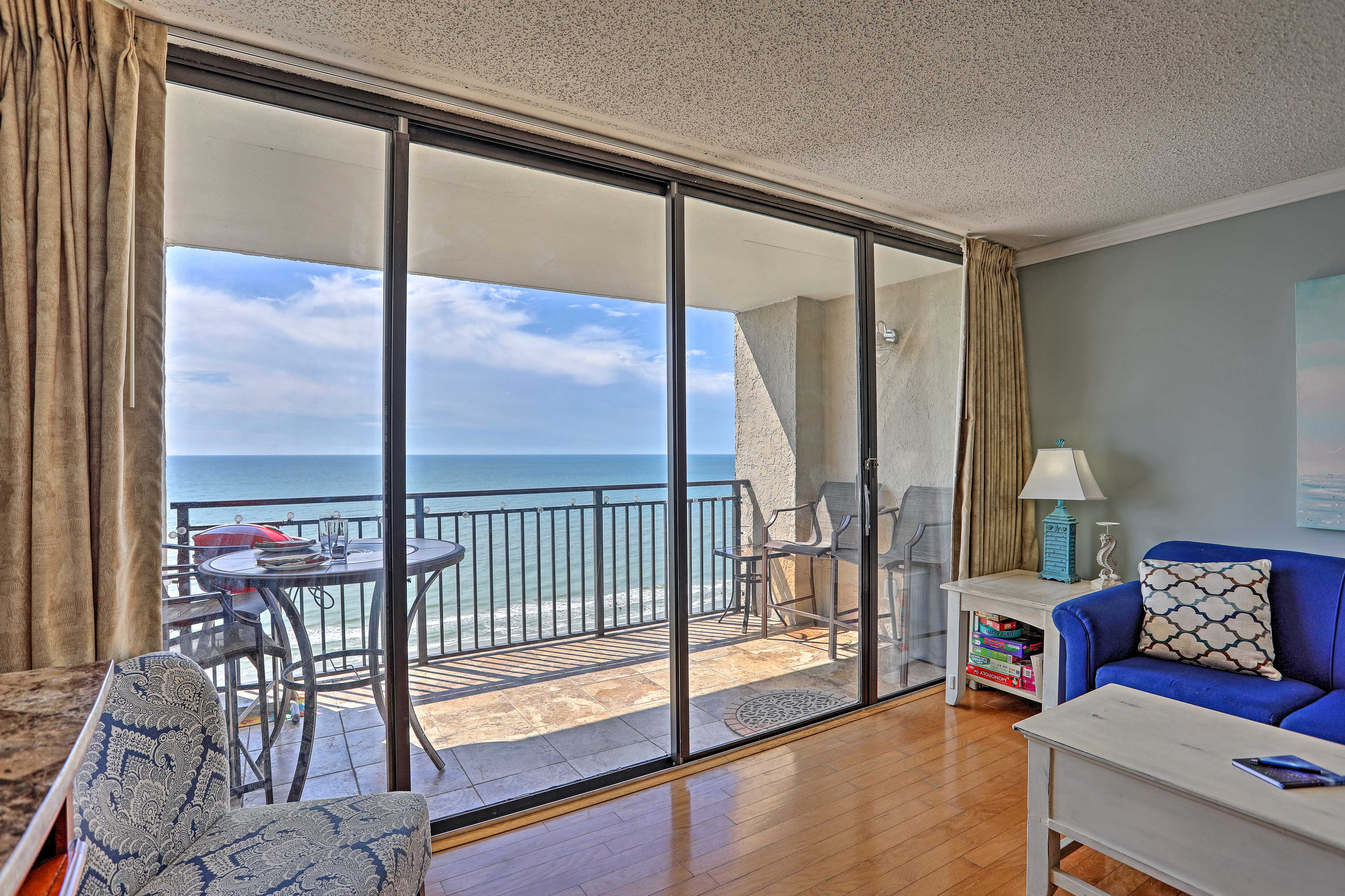 Enjoy ocean views from the living area and balcony.