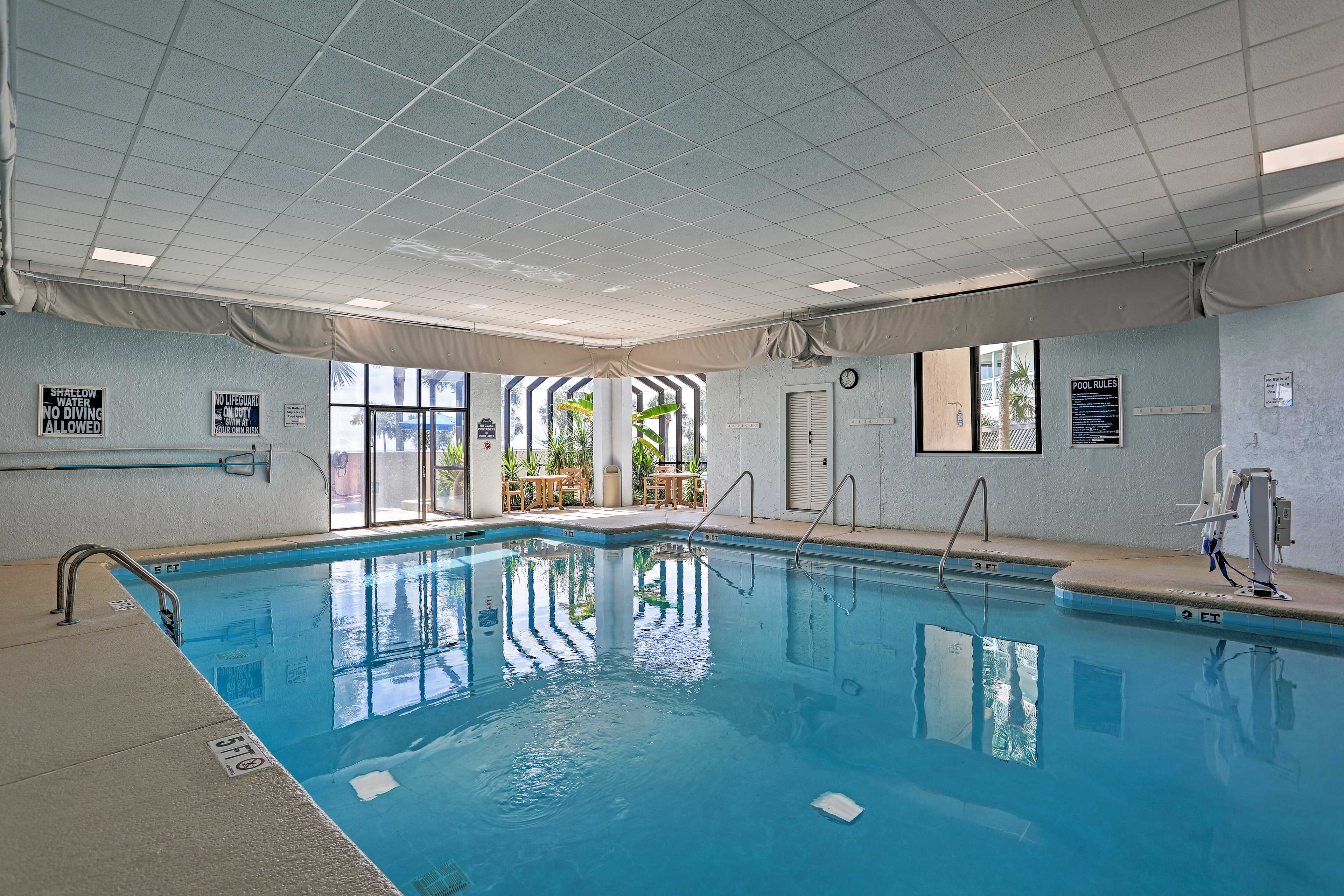 Cool off with a dip in the indoor pool.