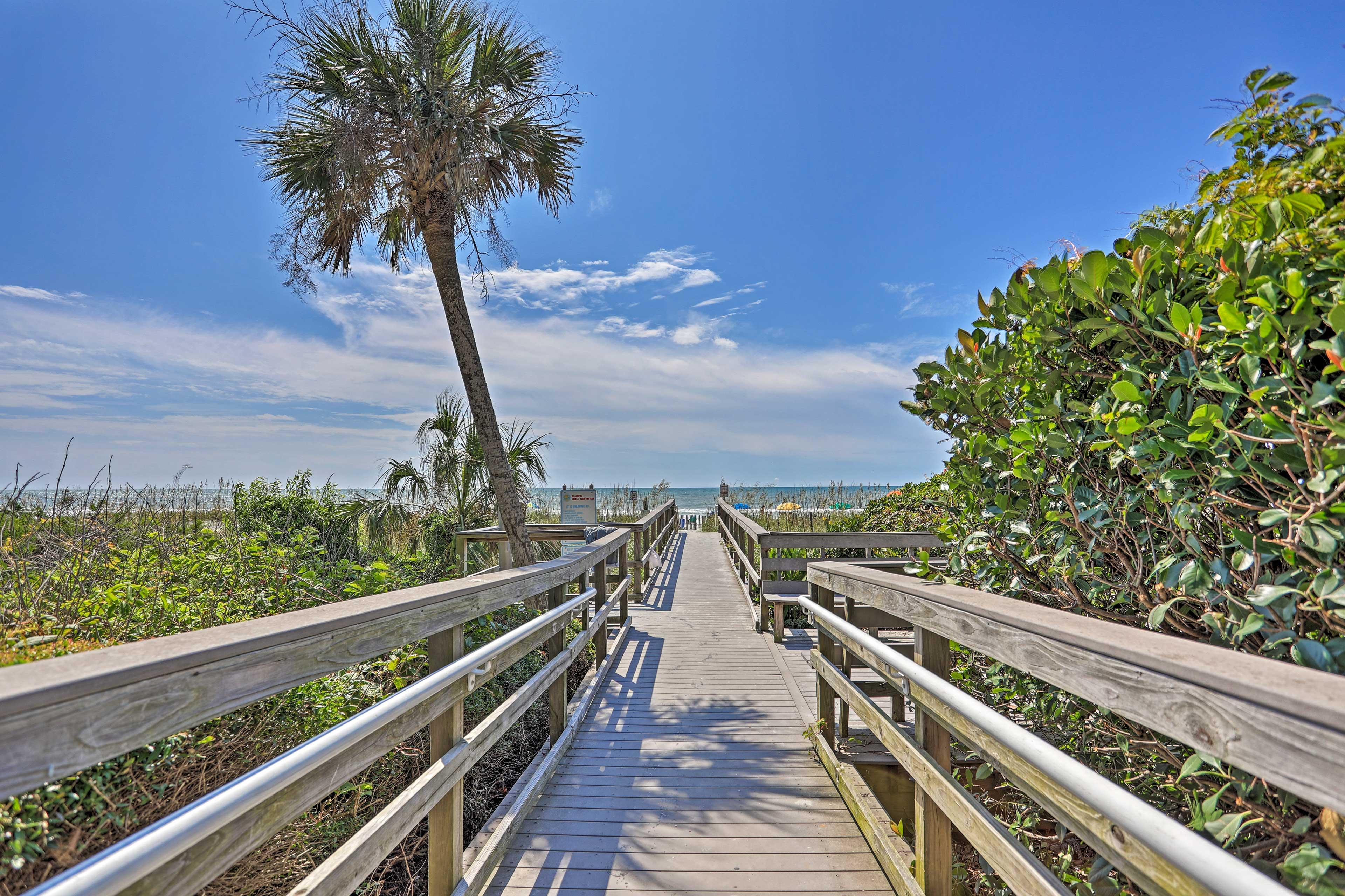 Stroll down the boardwalk to the beach!