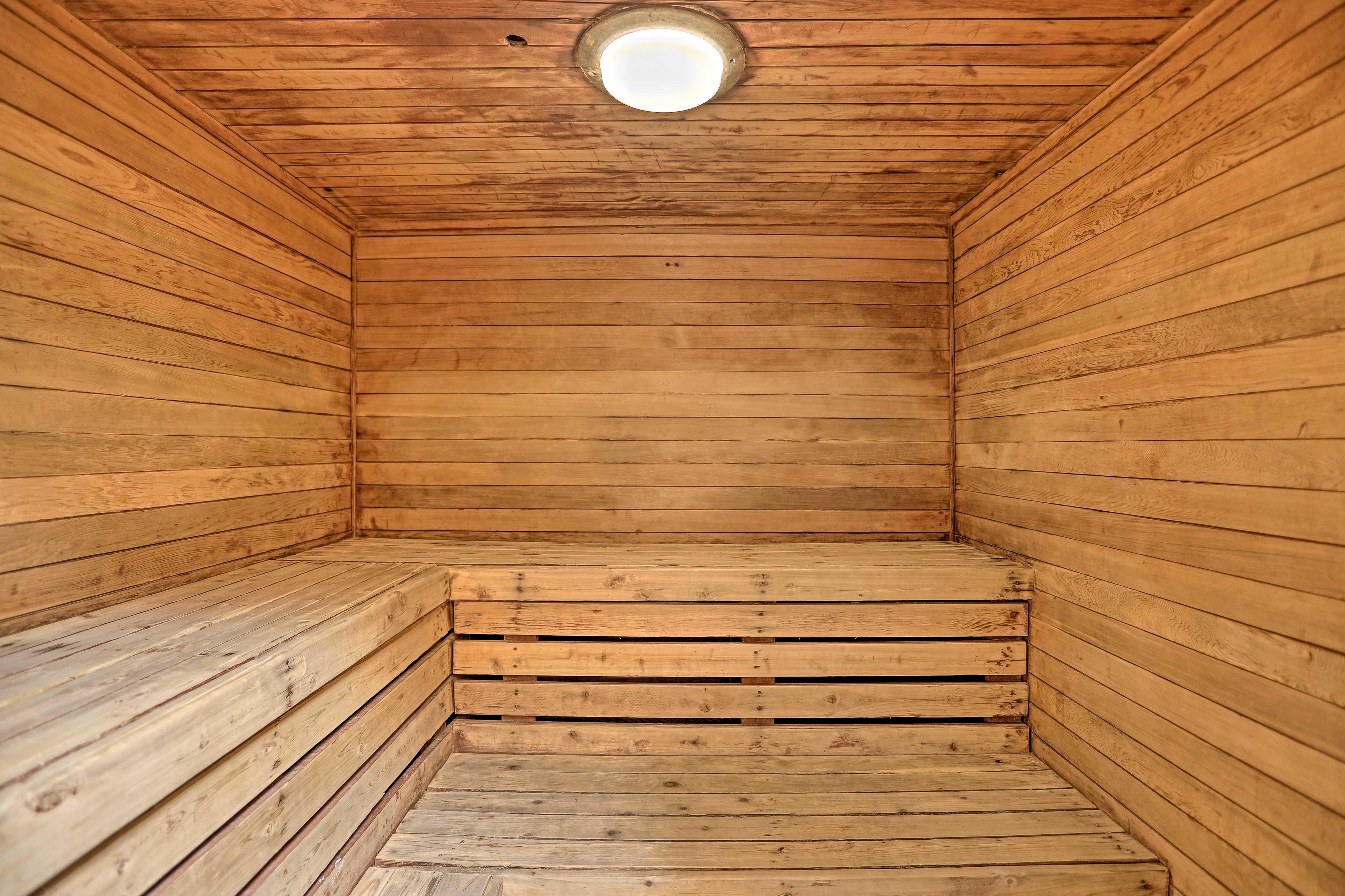 Take a steam in the sauna.