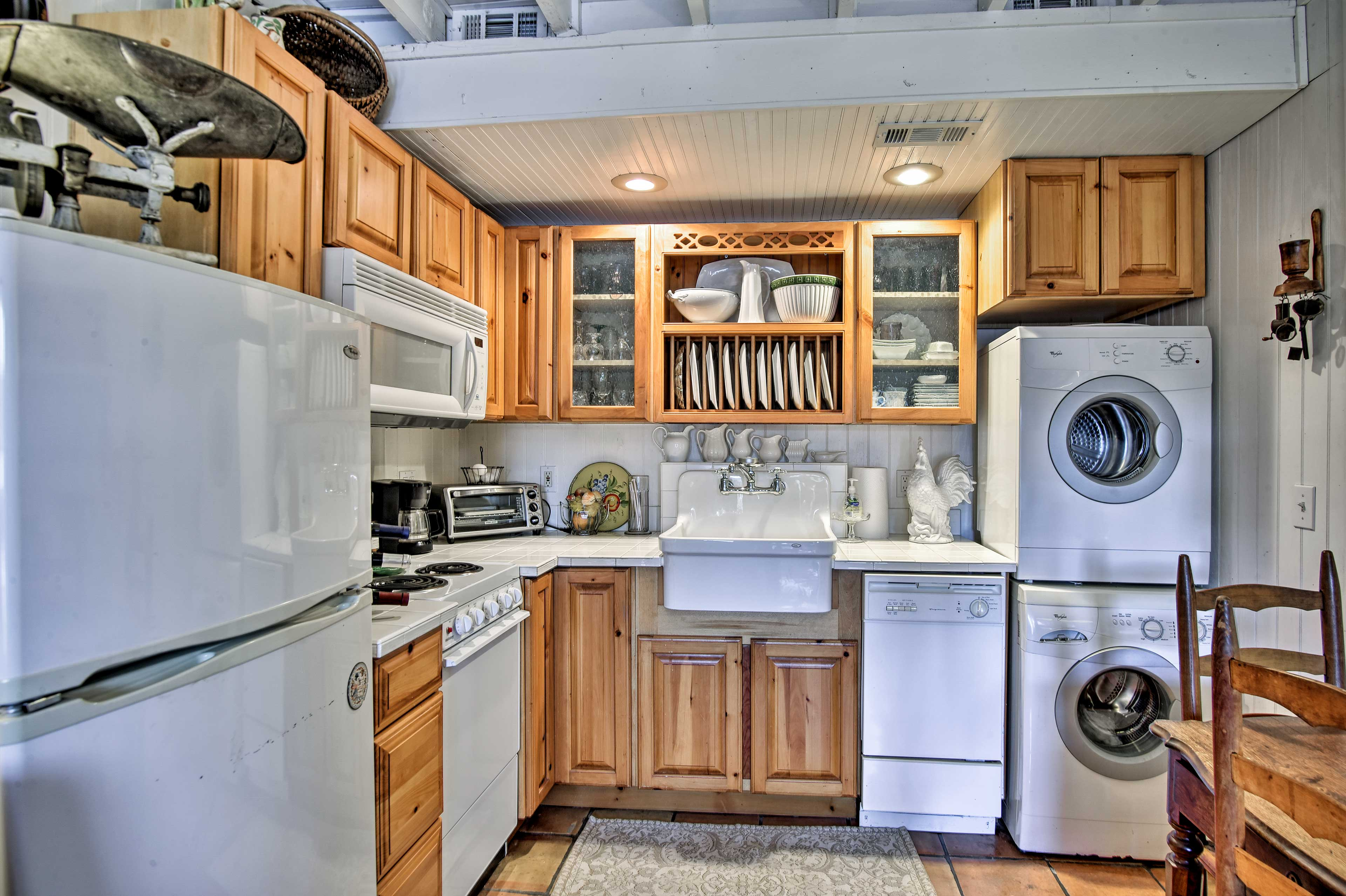 The kitchen comes well equipped with everything you should need to prepare meals