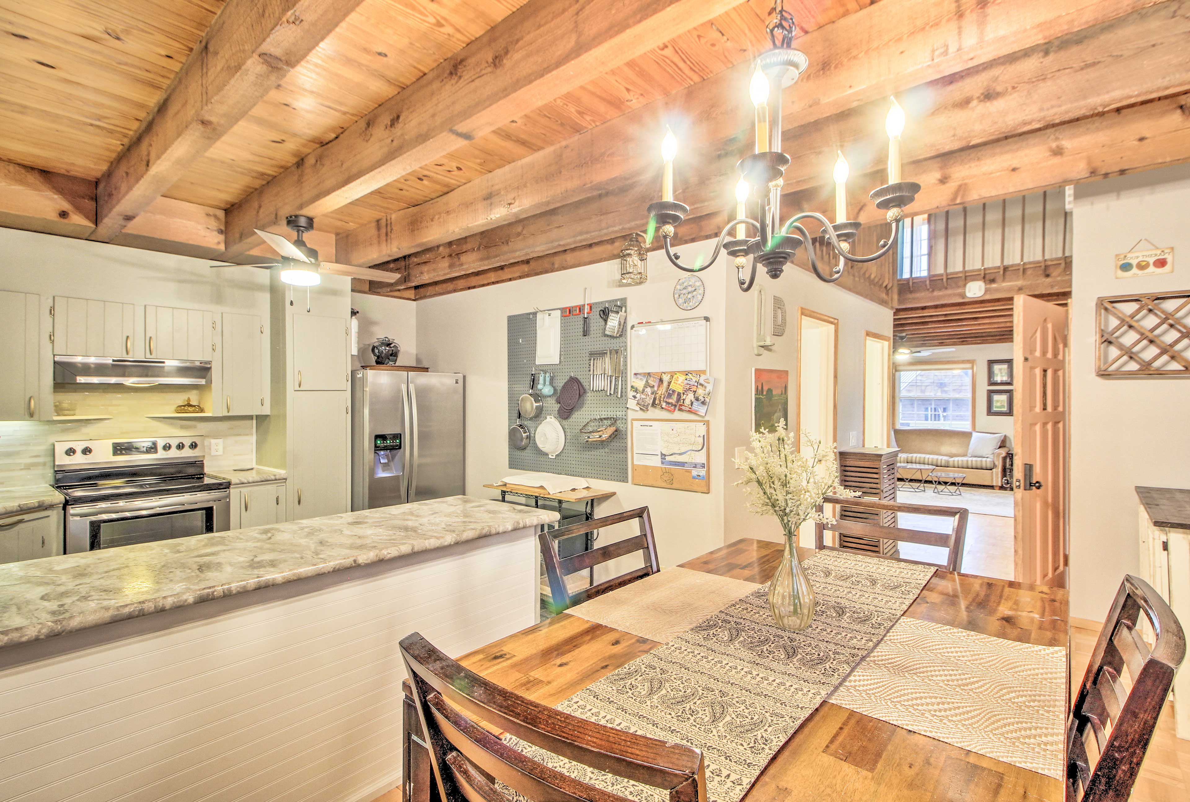 Take advantage of the stainless steel appliances that the kitchen has to offer.