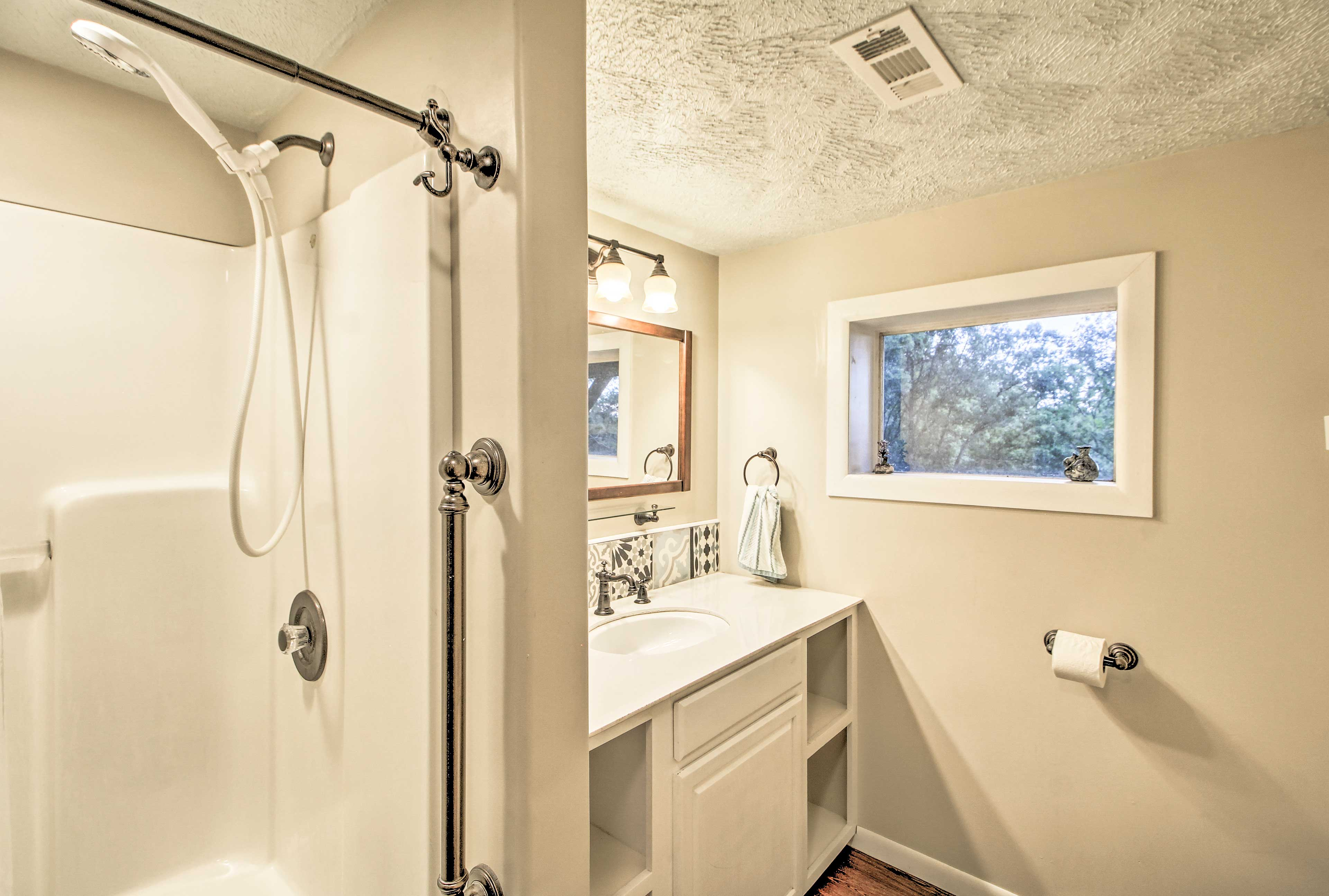 The downstairs bathroom is equipped with grab bars.