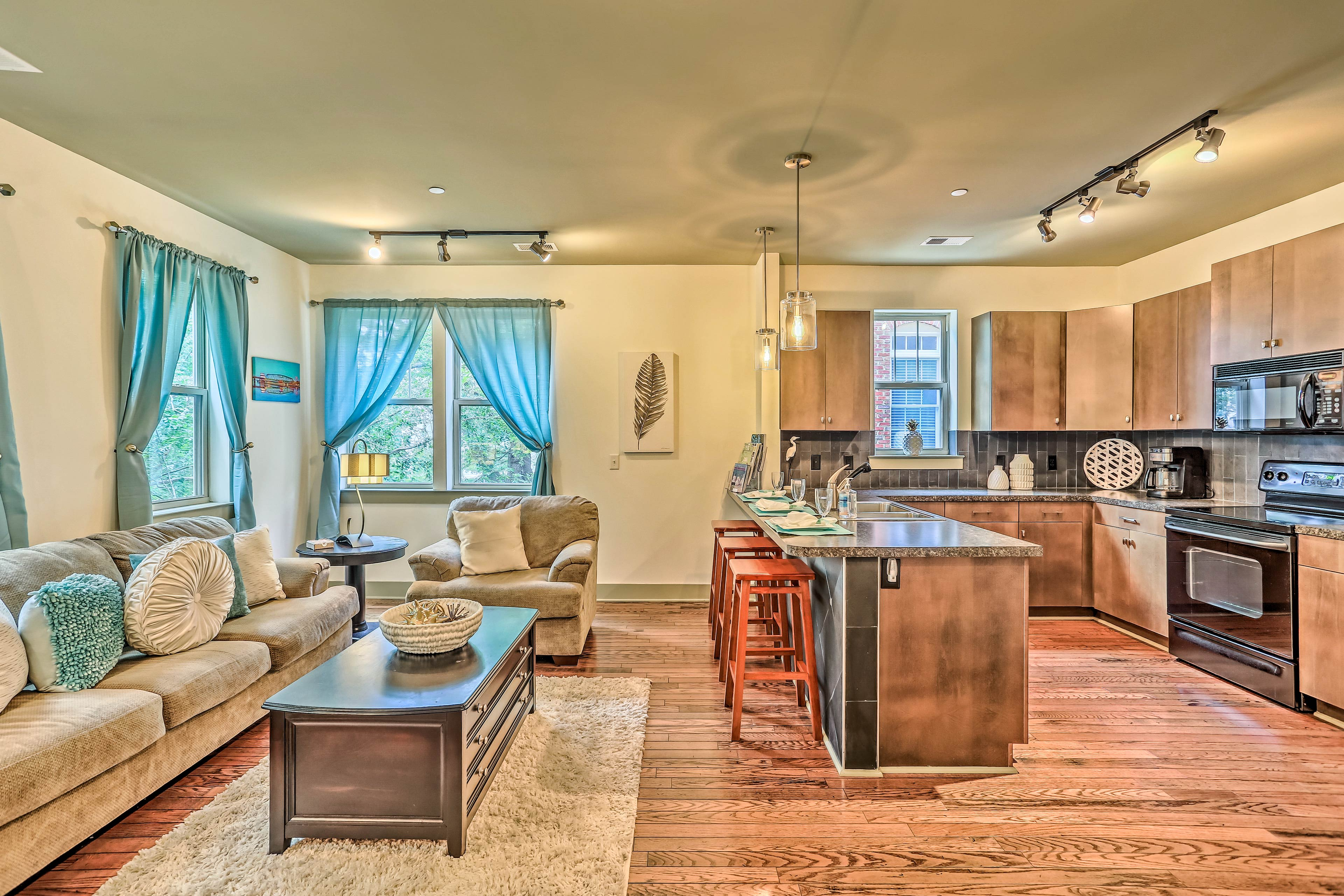 The open floor plan keeps the unit feeling airy and comfortable.