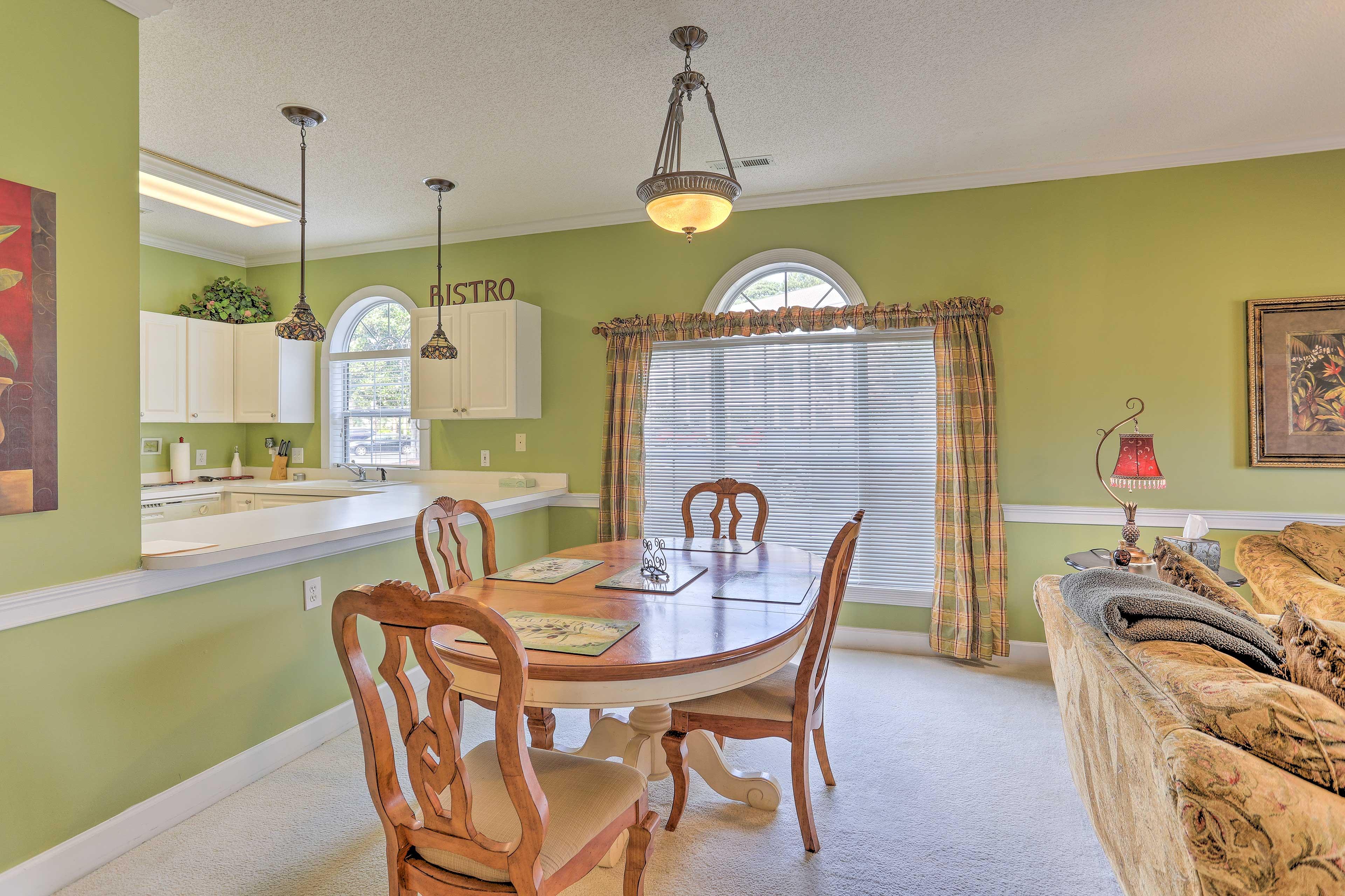 Serve a breakfast buffet along the extending counter.