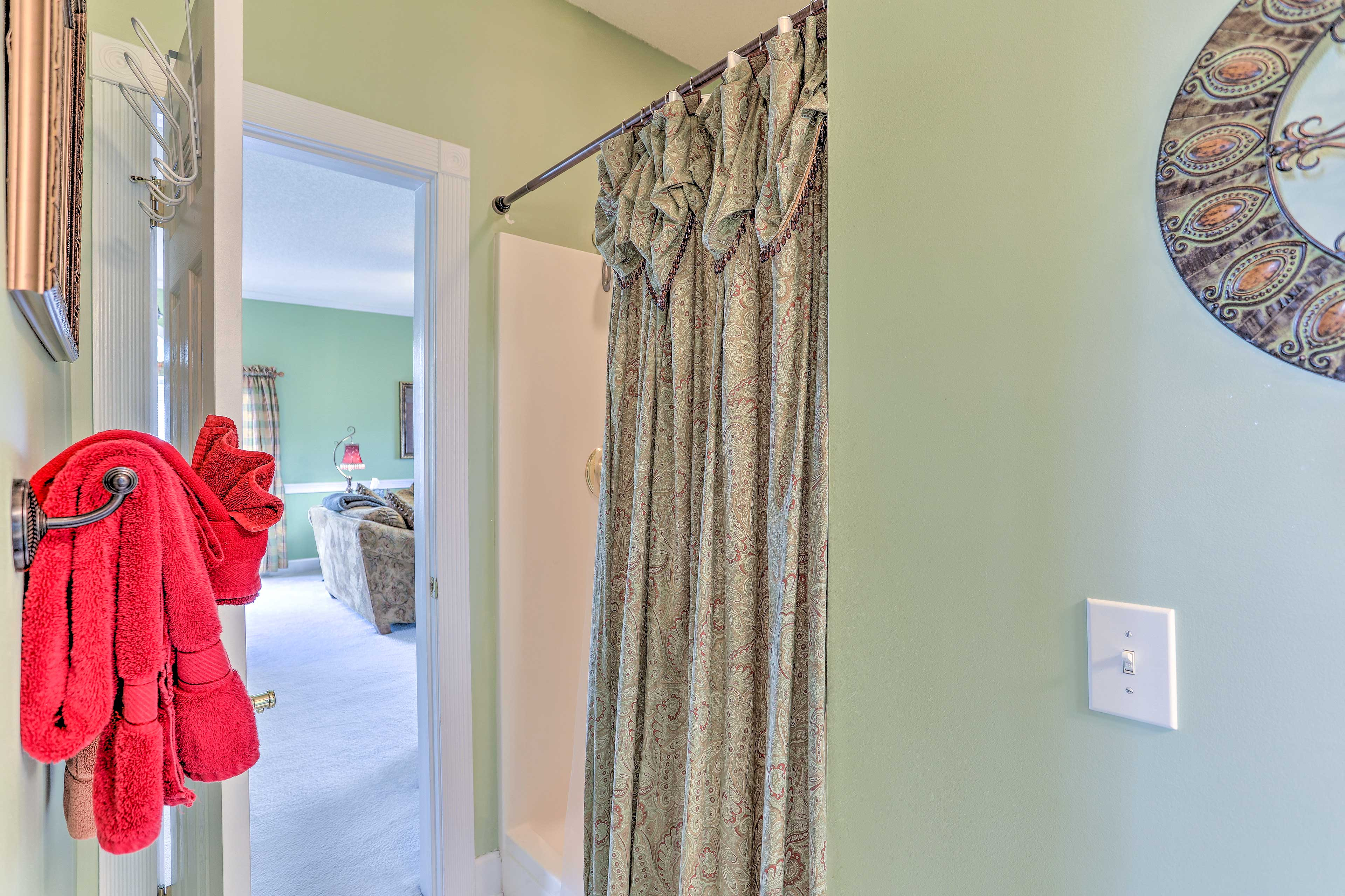 Two separate bathrooms provide plenty of privacy.