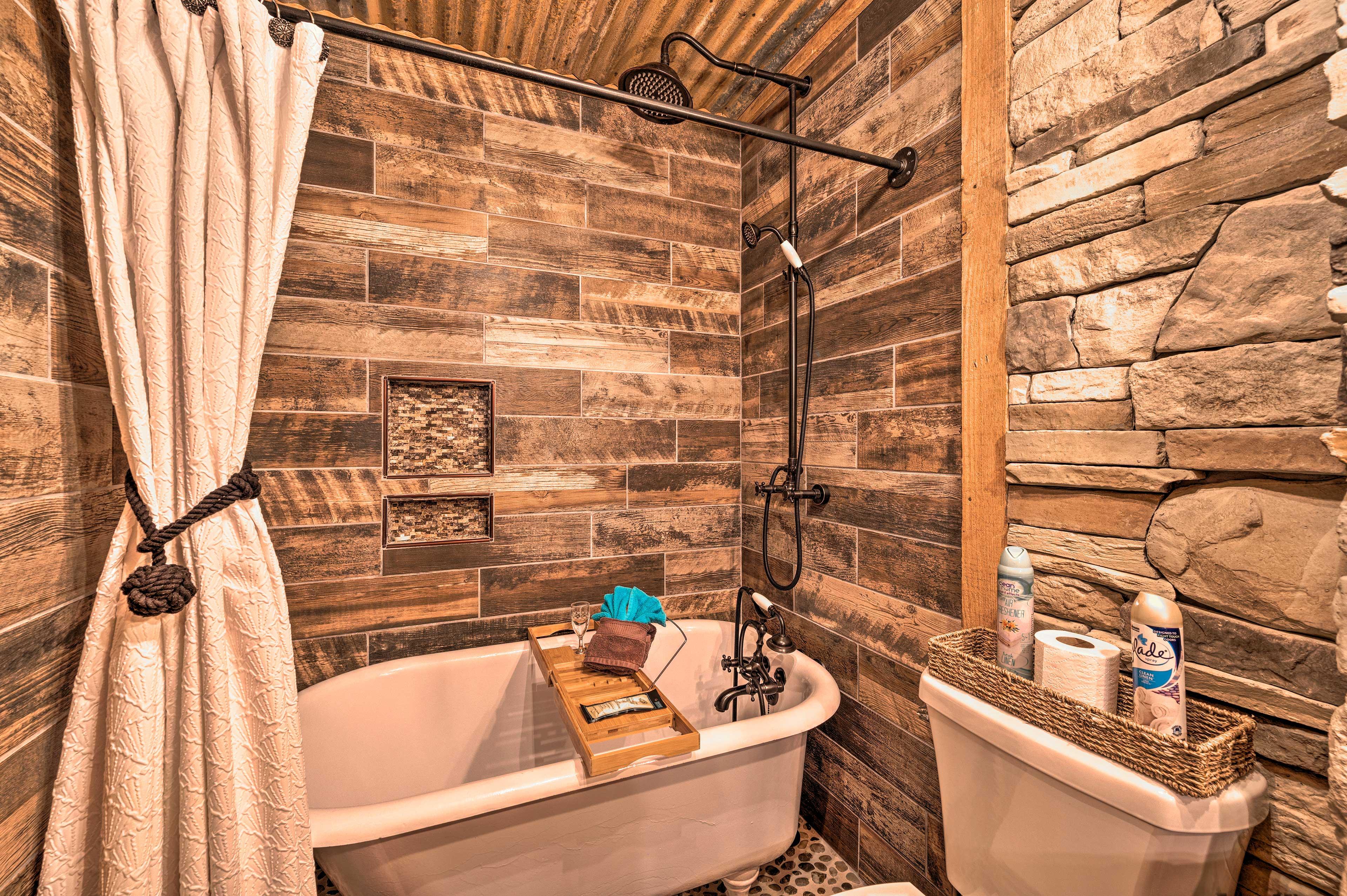 Enjoy a relaxing soak in the claw-foot bathtub.