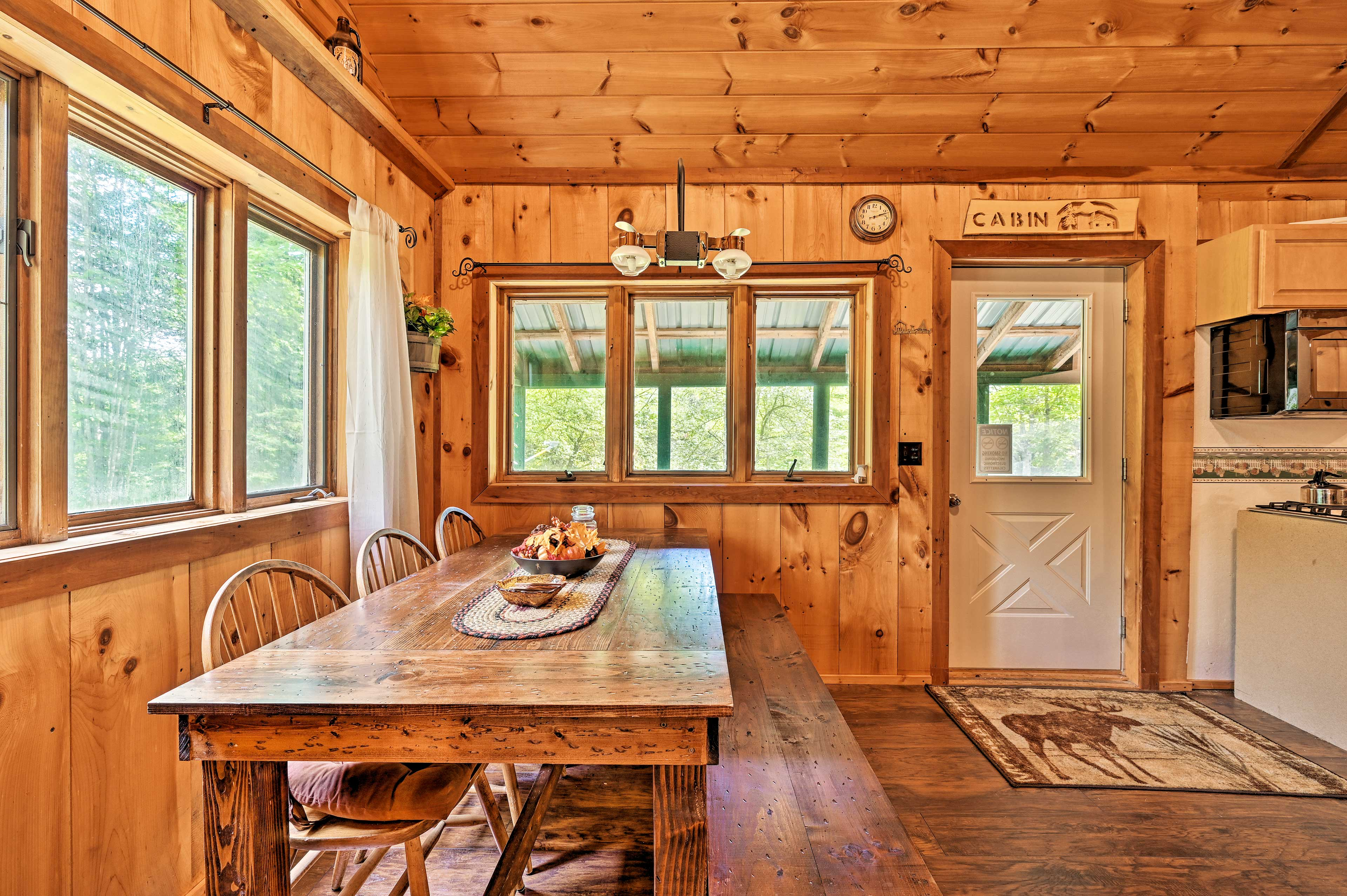 Host your family-style meals at the wooden table.