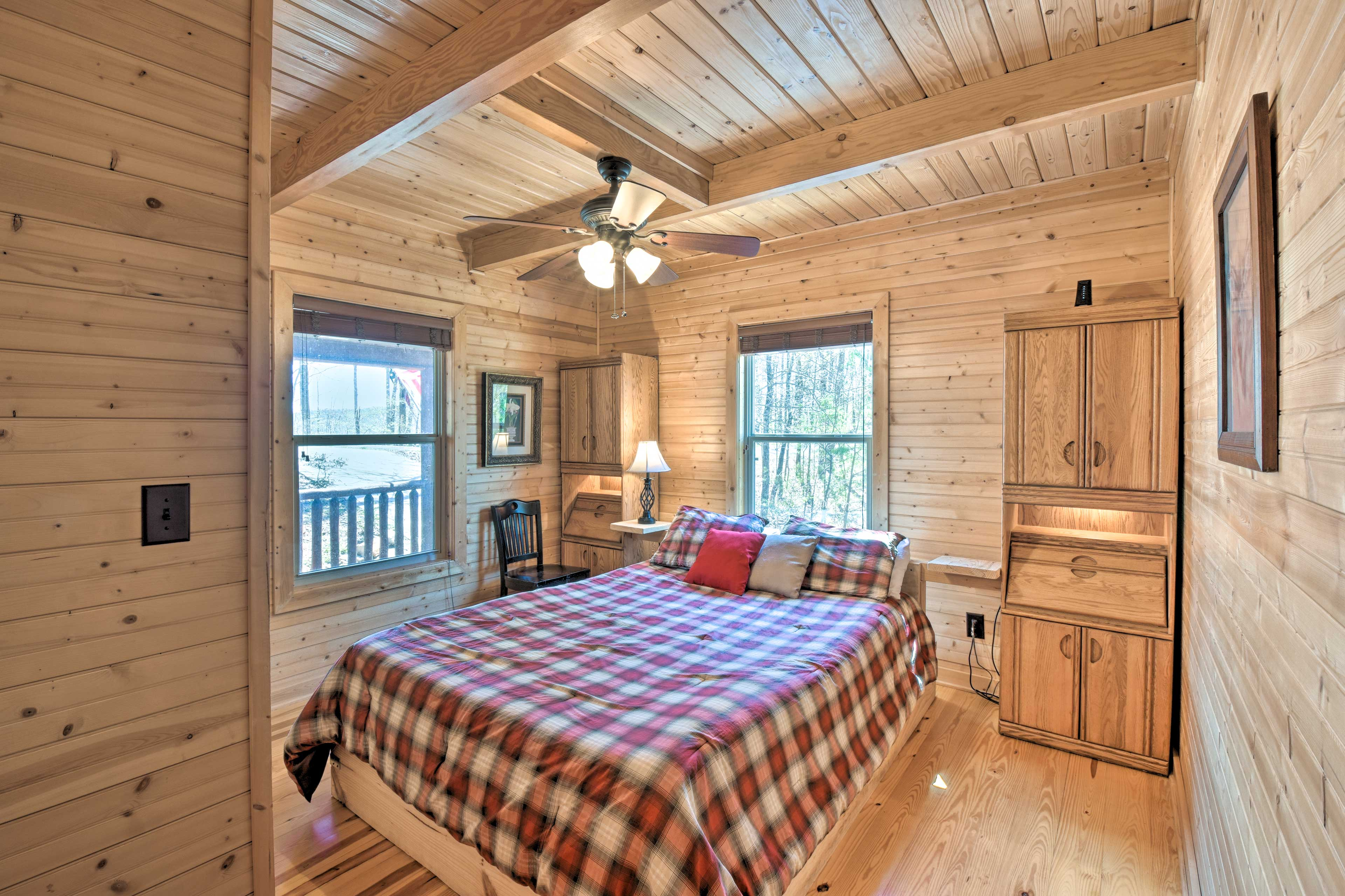 The second bedroom boasts a queen bed for 2.