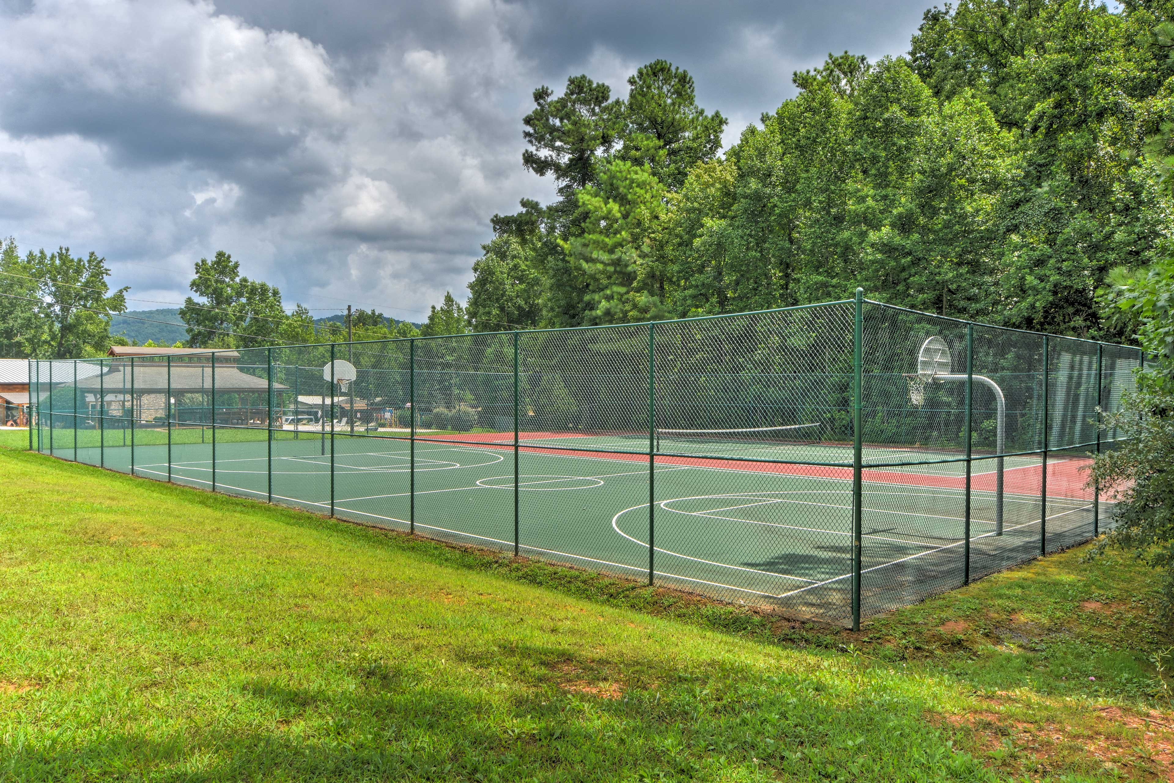 Hit up the community tennis or basketball courts!
