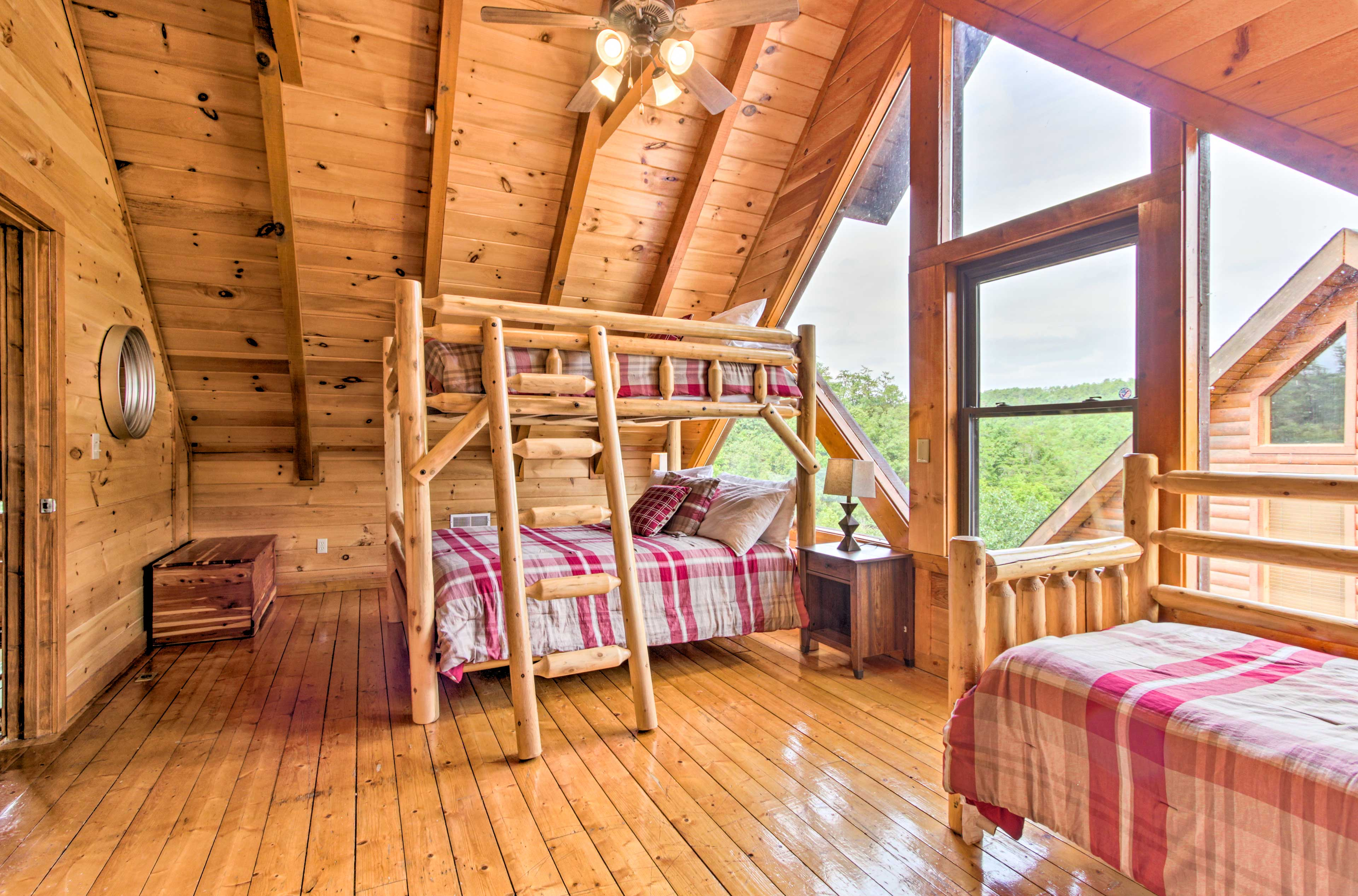 Perfect for the little ones, this room features a queen bunk bed and twin bed.