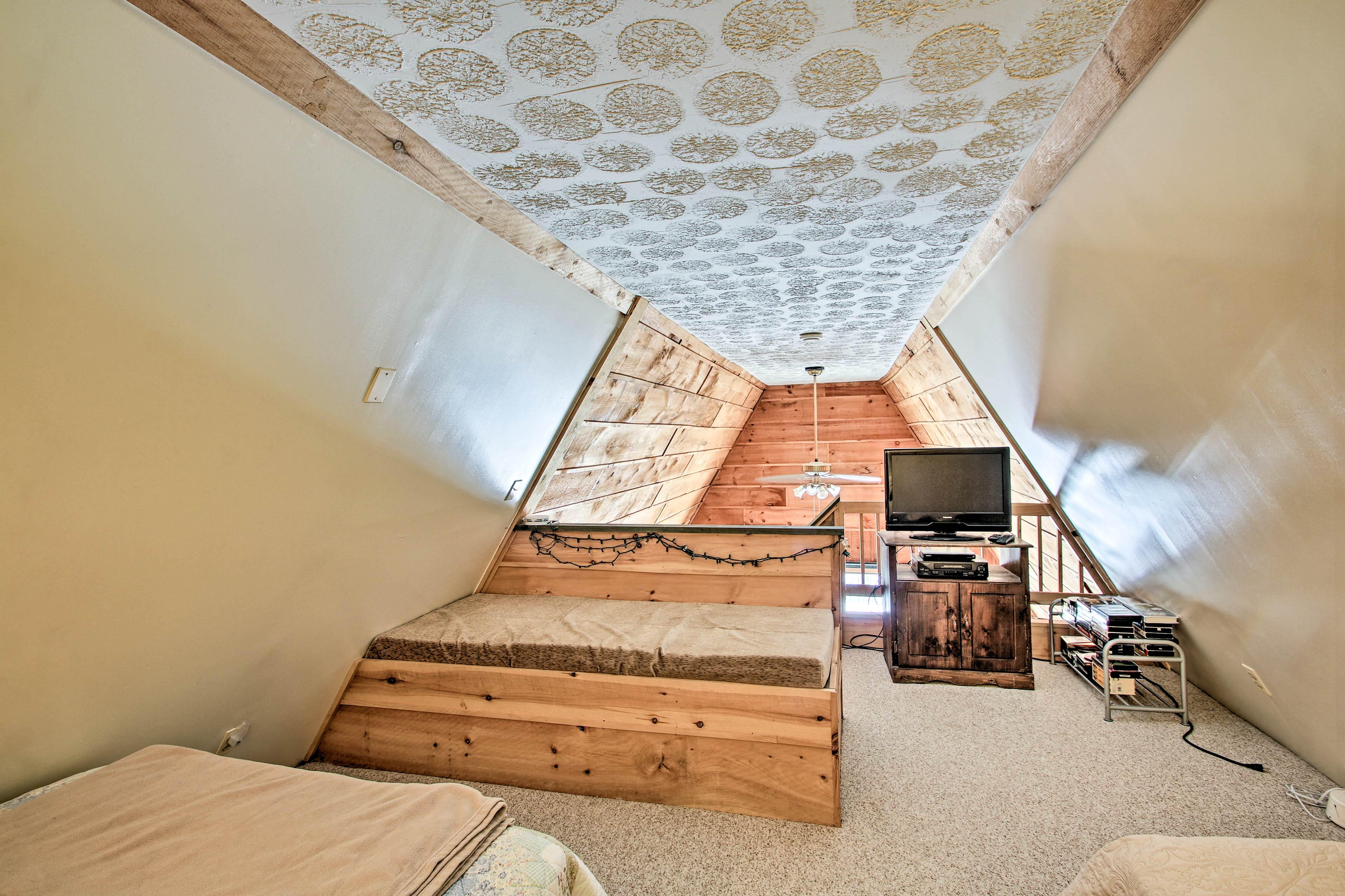 Kids will love spending the night in the loft.