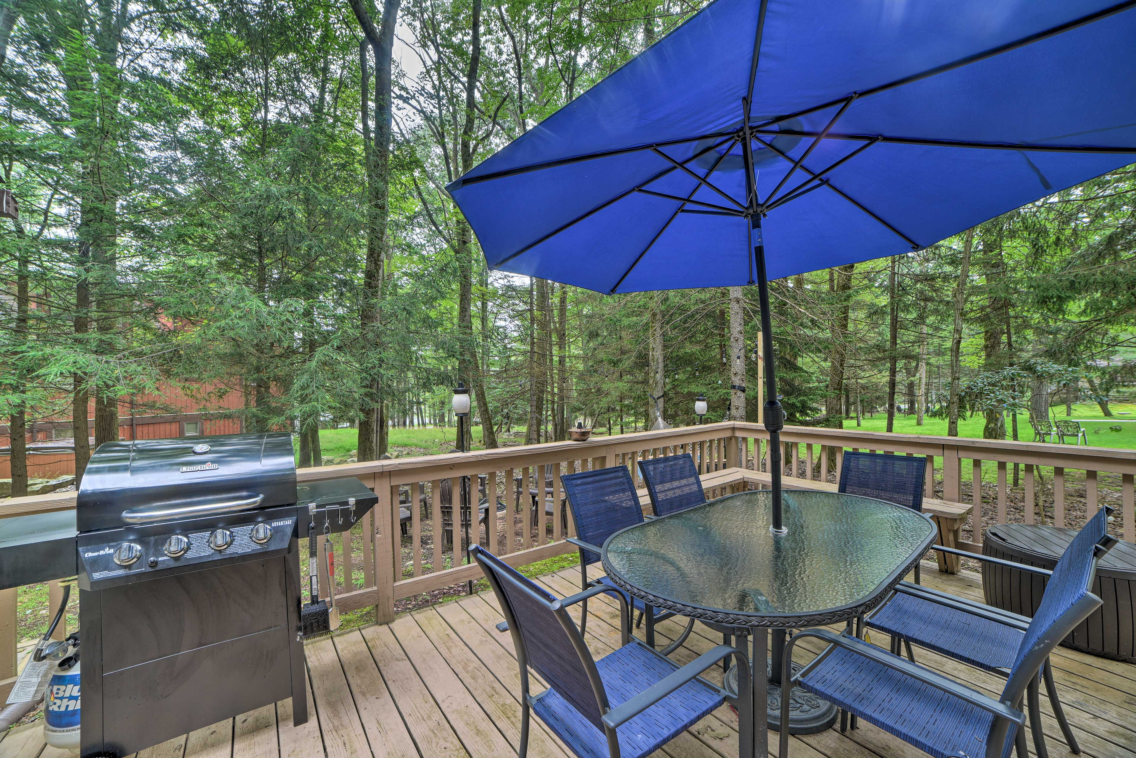 Spend time outdoors on the deck during your stay at this vacation rental.