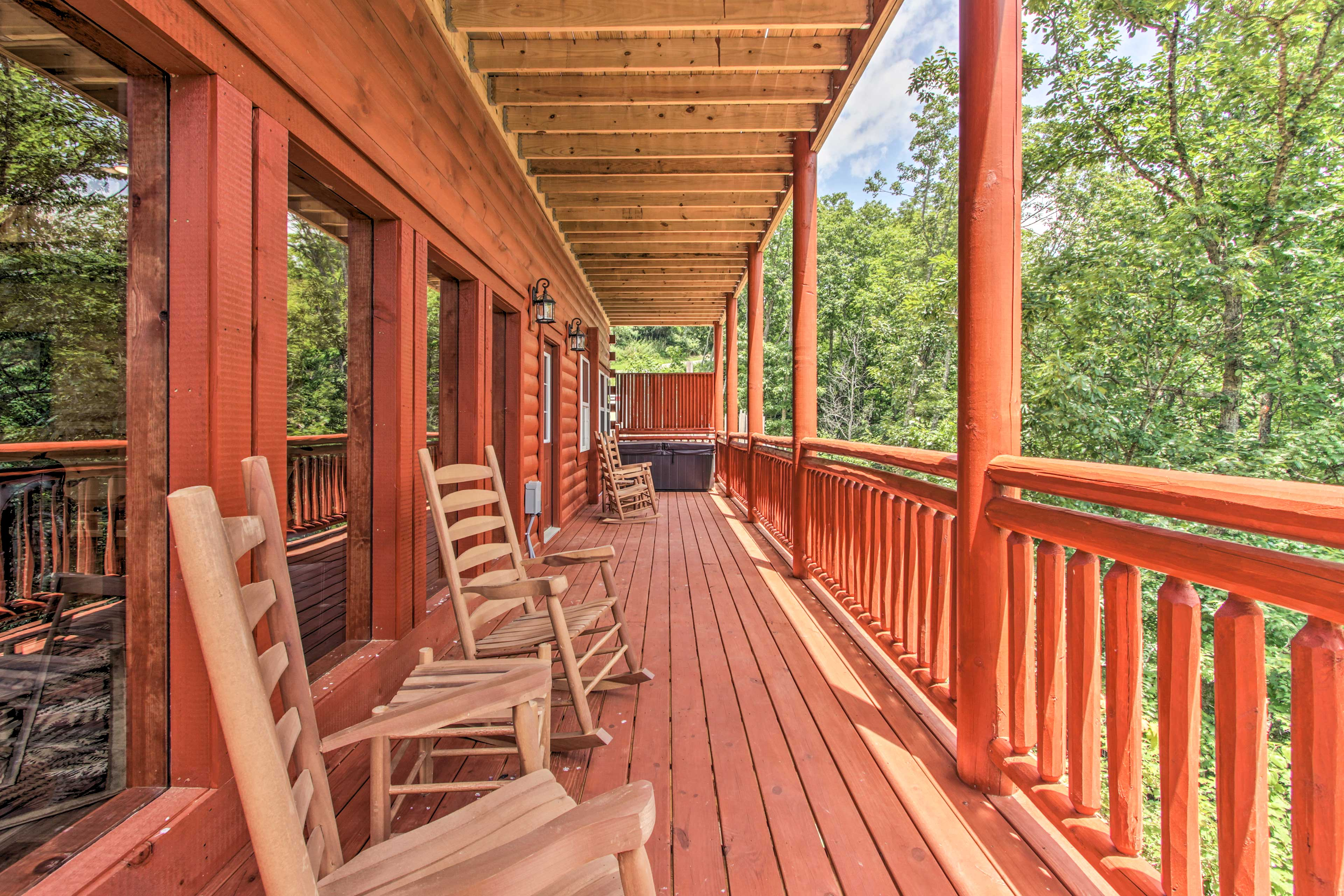 Private Covered Deck | Hot Tub | Rocking Chairs