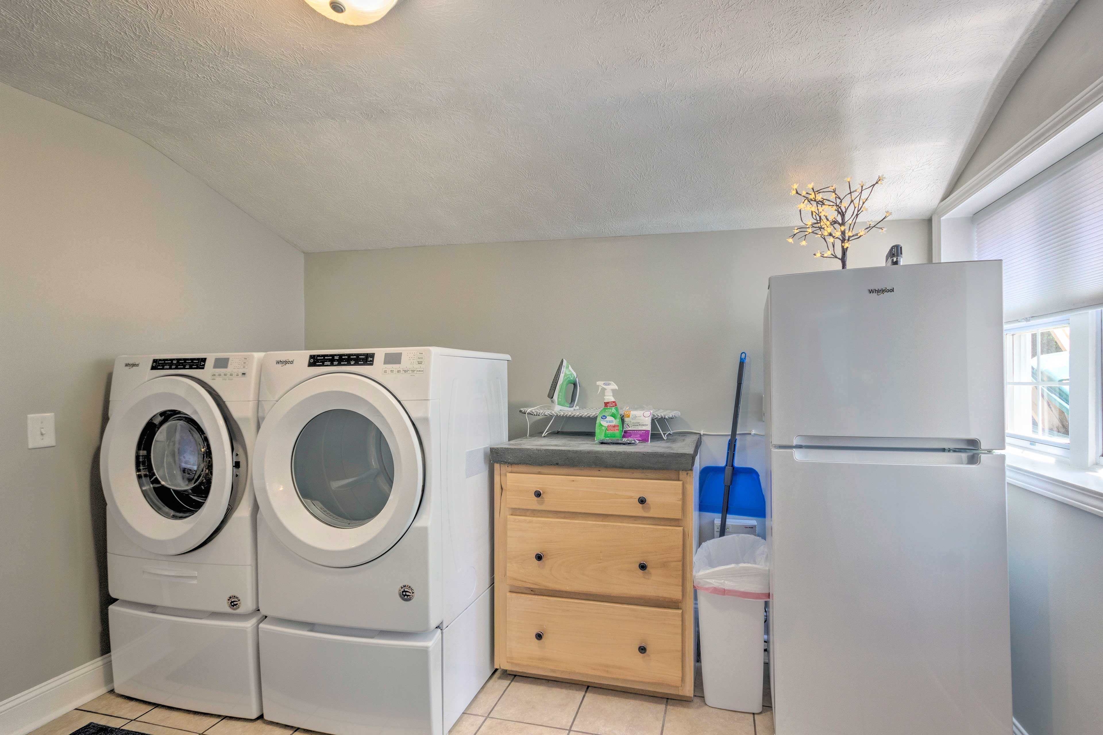 In-unit laundry units are provided for your stay.