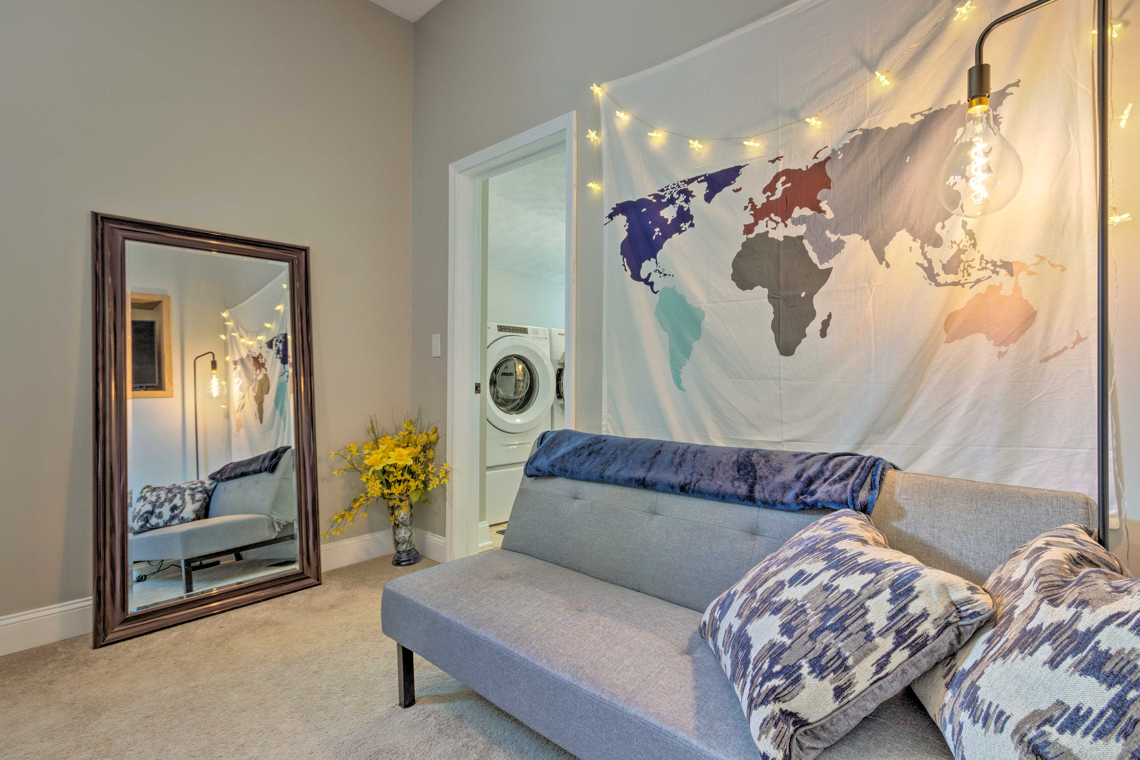 This 1-bedroom in-law suite sleeps up to 4 with a queen bed and futon.