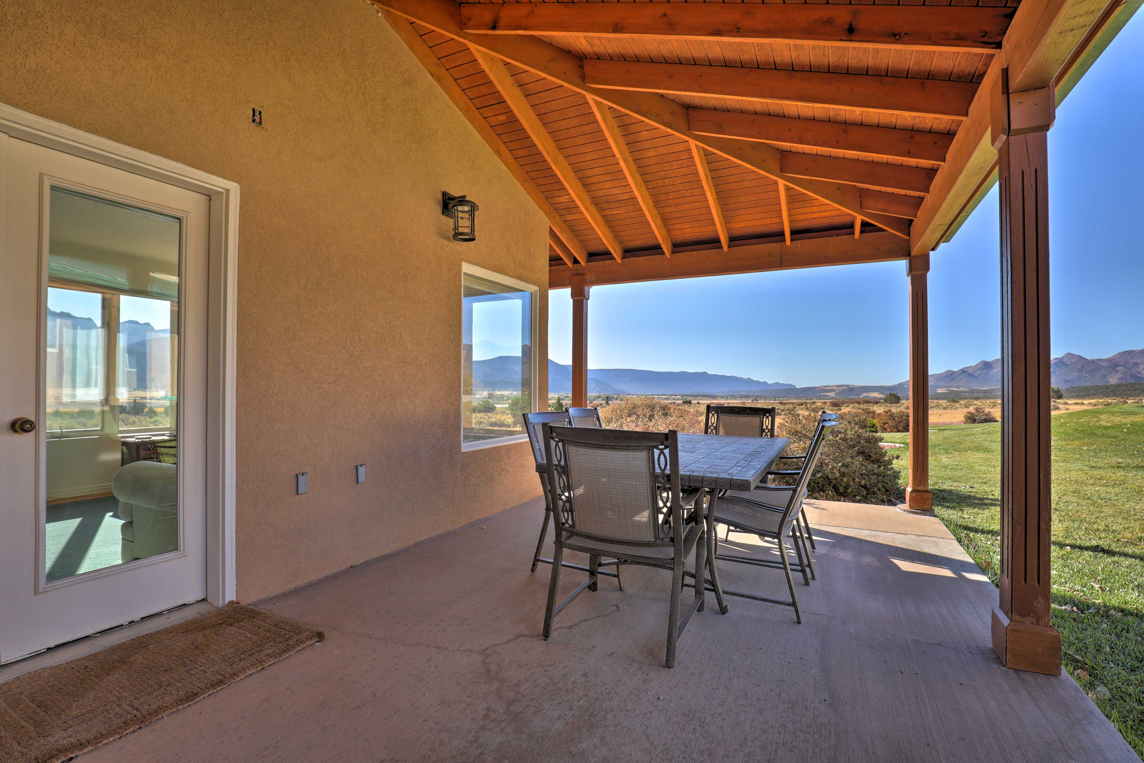 Step outside and enjoy some shade on the covered patio.
