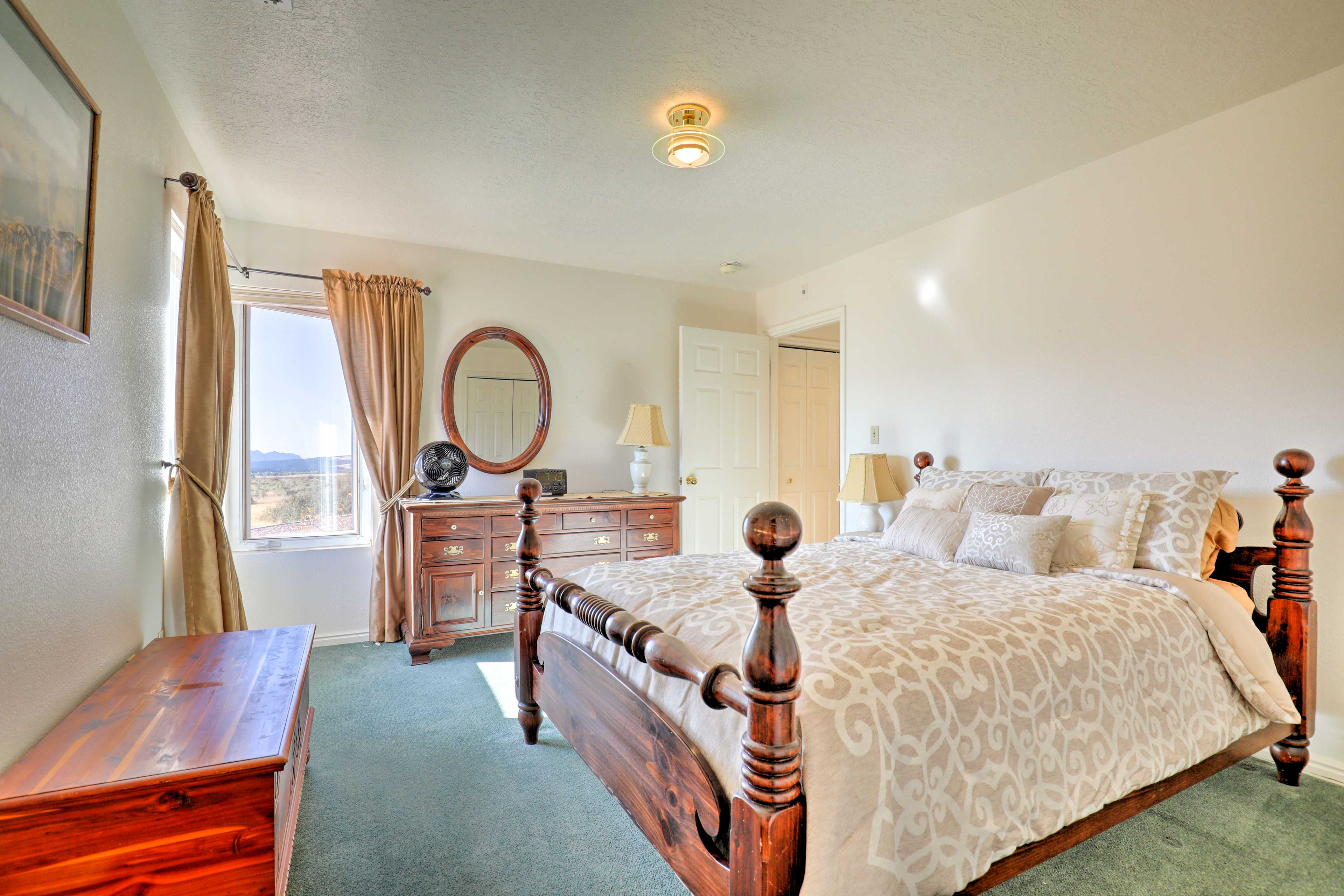 Both bedrooms provide queen-sized beds.