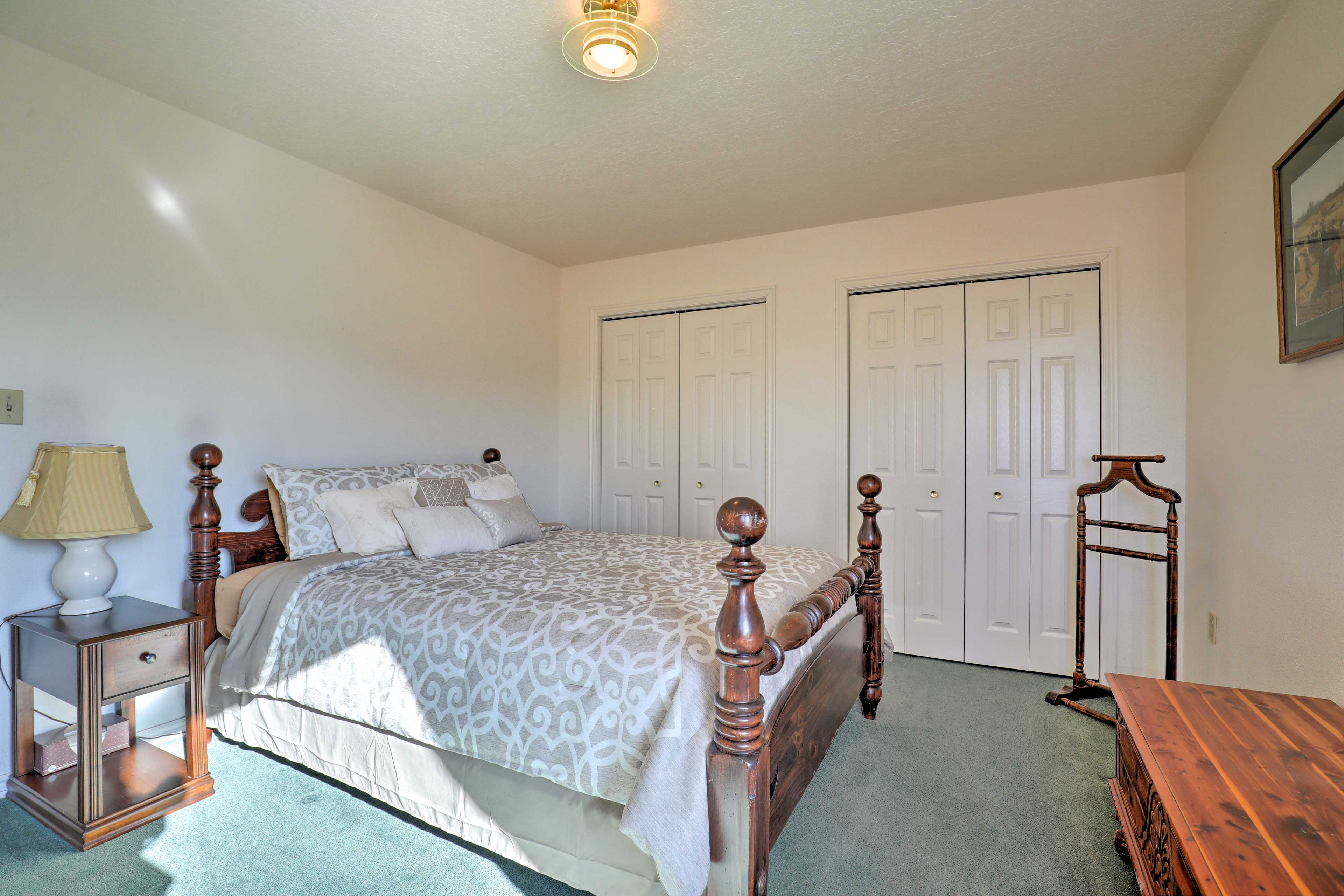This bedroom includes 2 large closets.