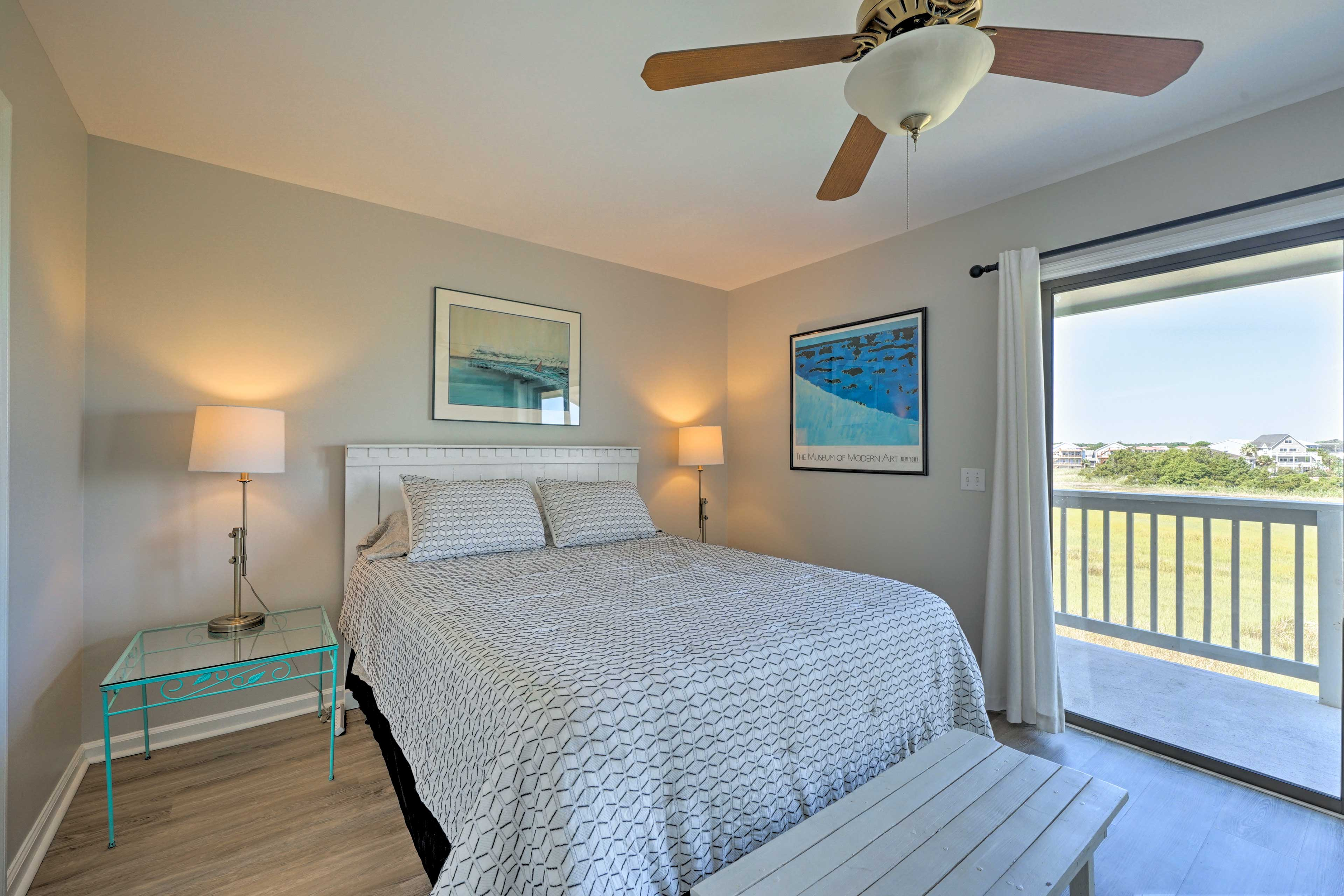 Fall into this queen-sized bed after a day at the beach!