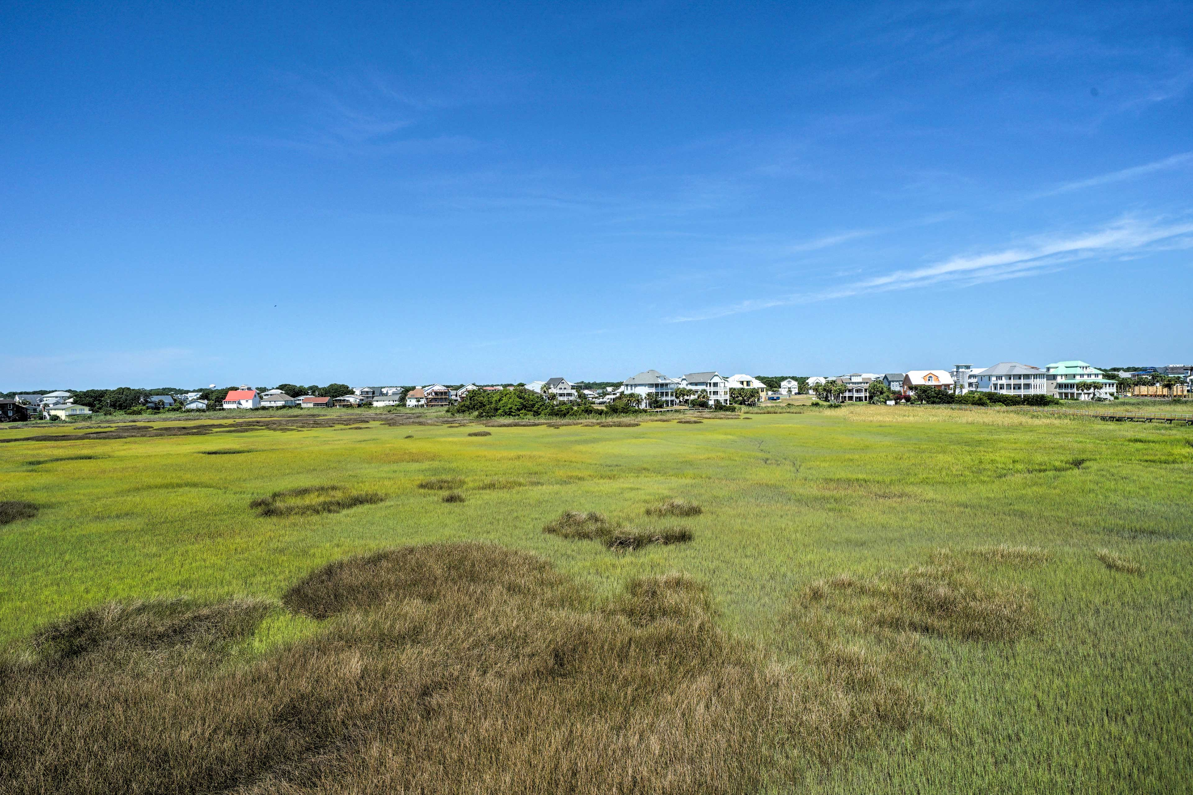 Enjoy the calming colors of these expansive marshes.