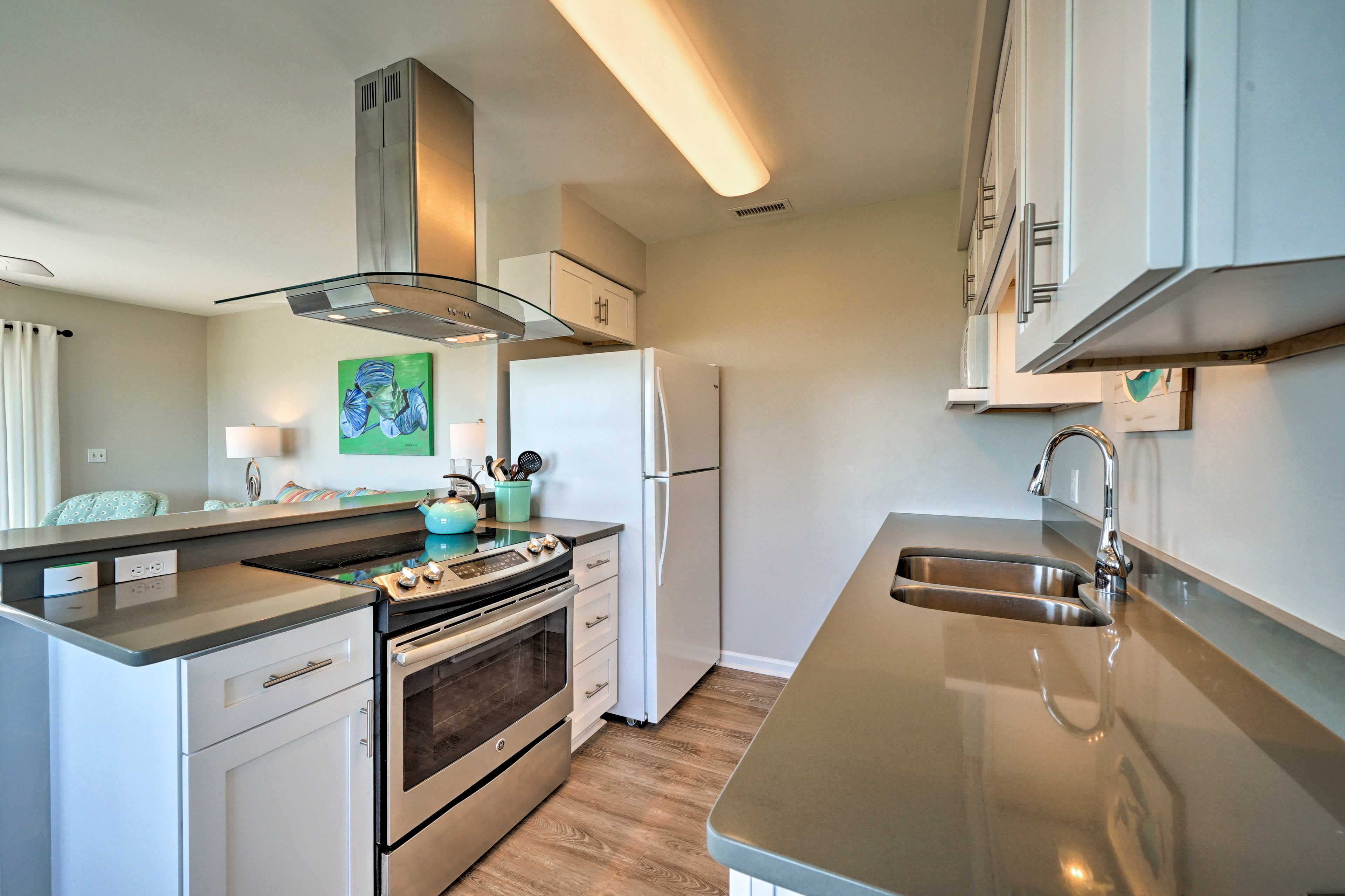 Make use of the fully equipped kitchen during your time at this home.