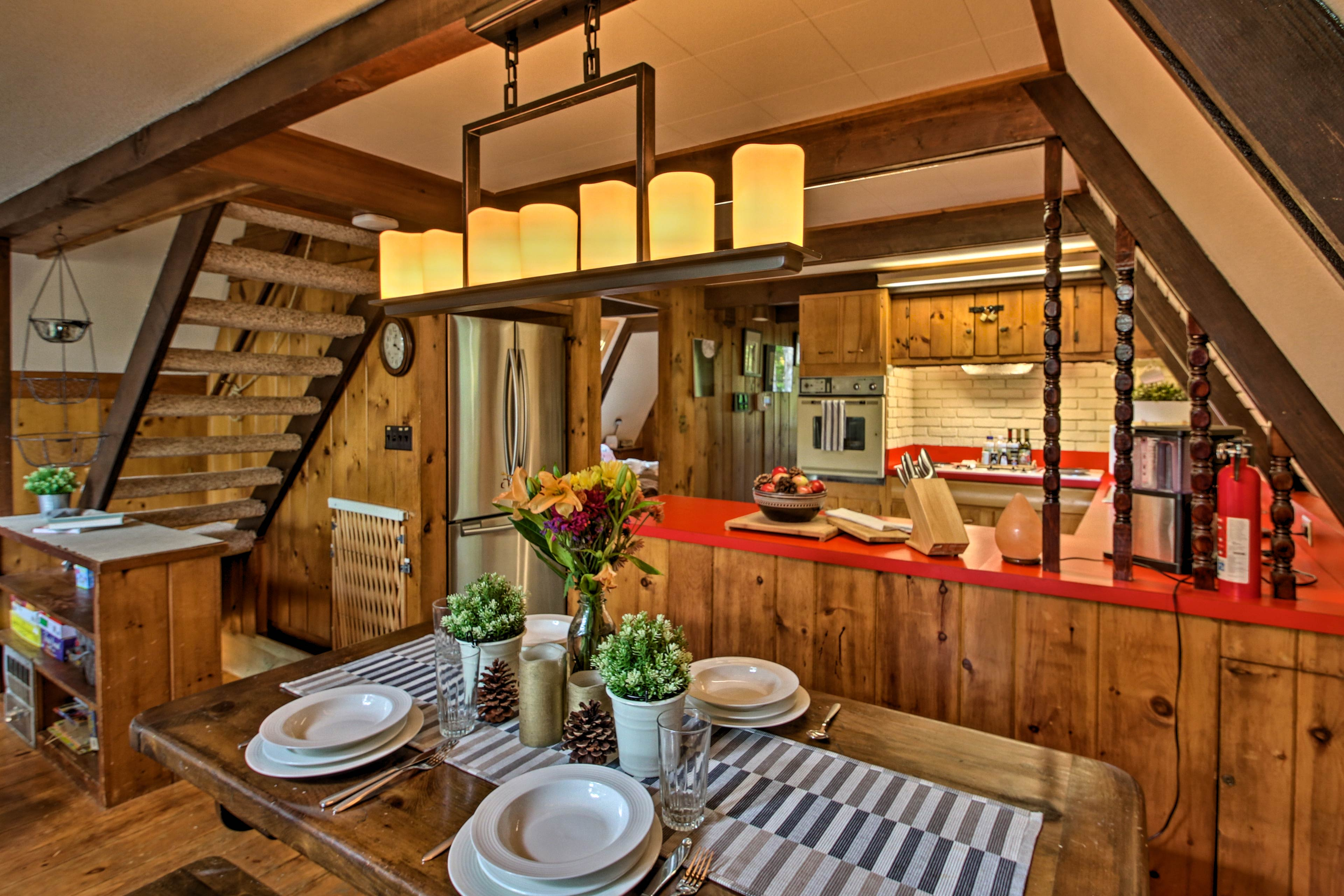 Dine in style at this rustic wooden kitchen table.