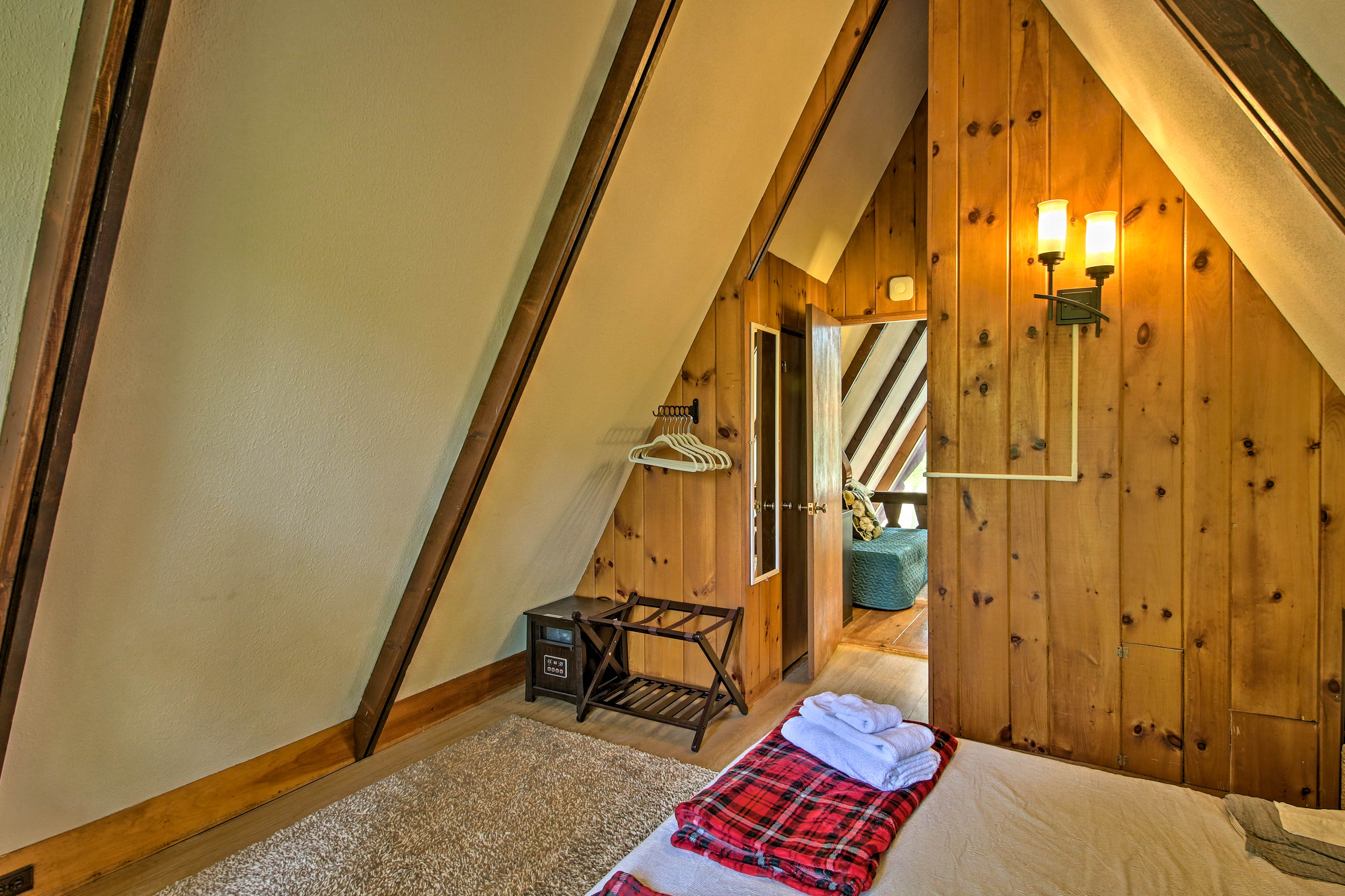 Admire the exposed wooden beams.