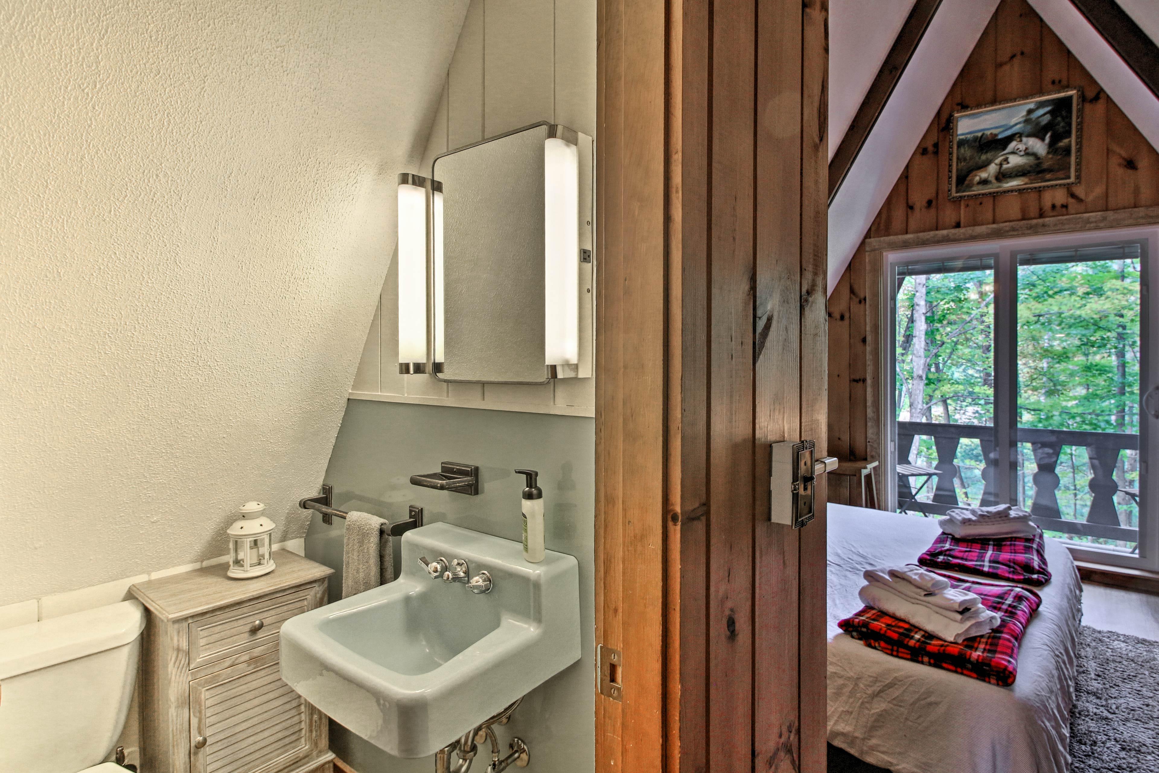 This bedroom is complete with an en-suite bathroom.