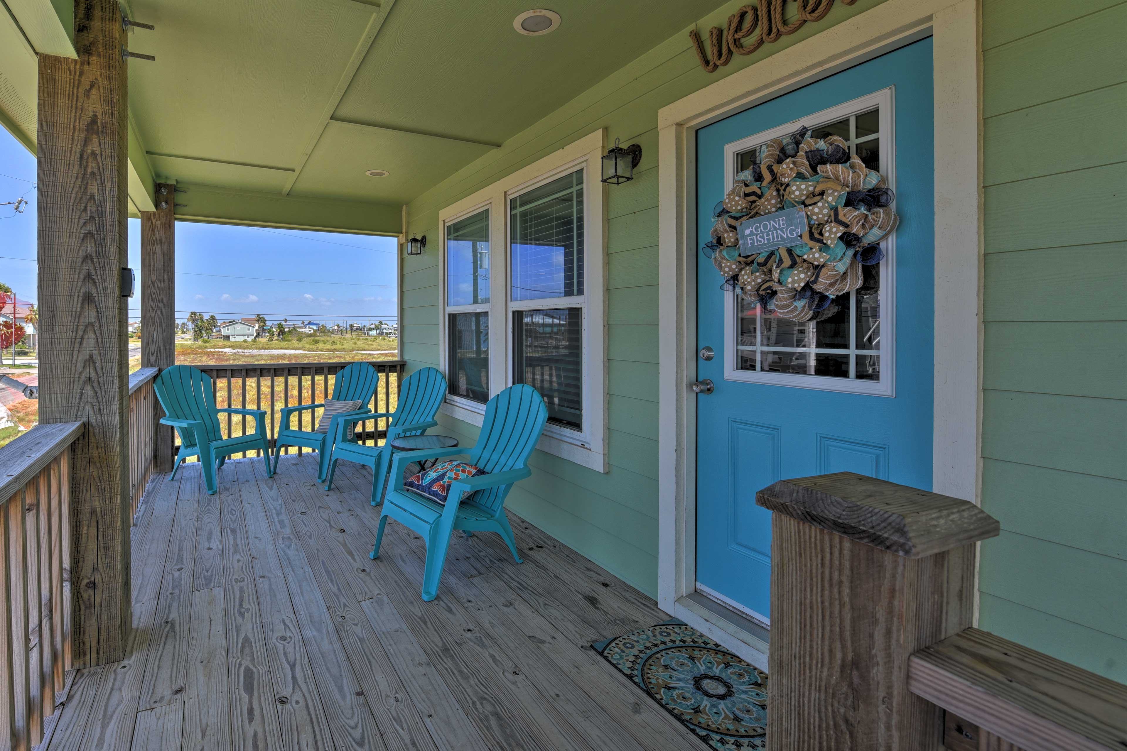 Embrace your surroundings over a cup of coffee on the covered porch.