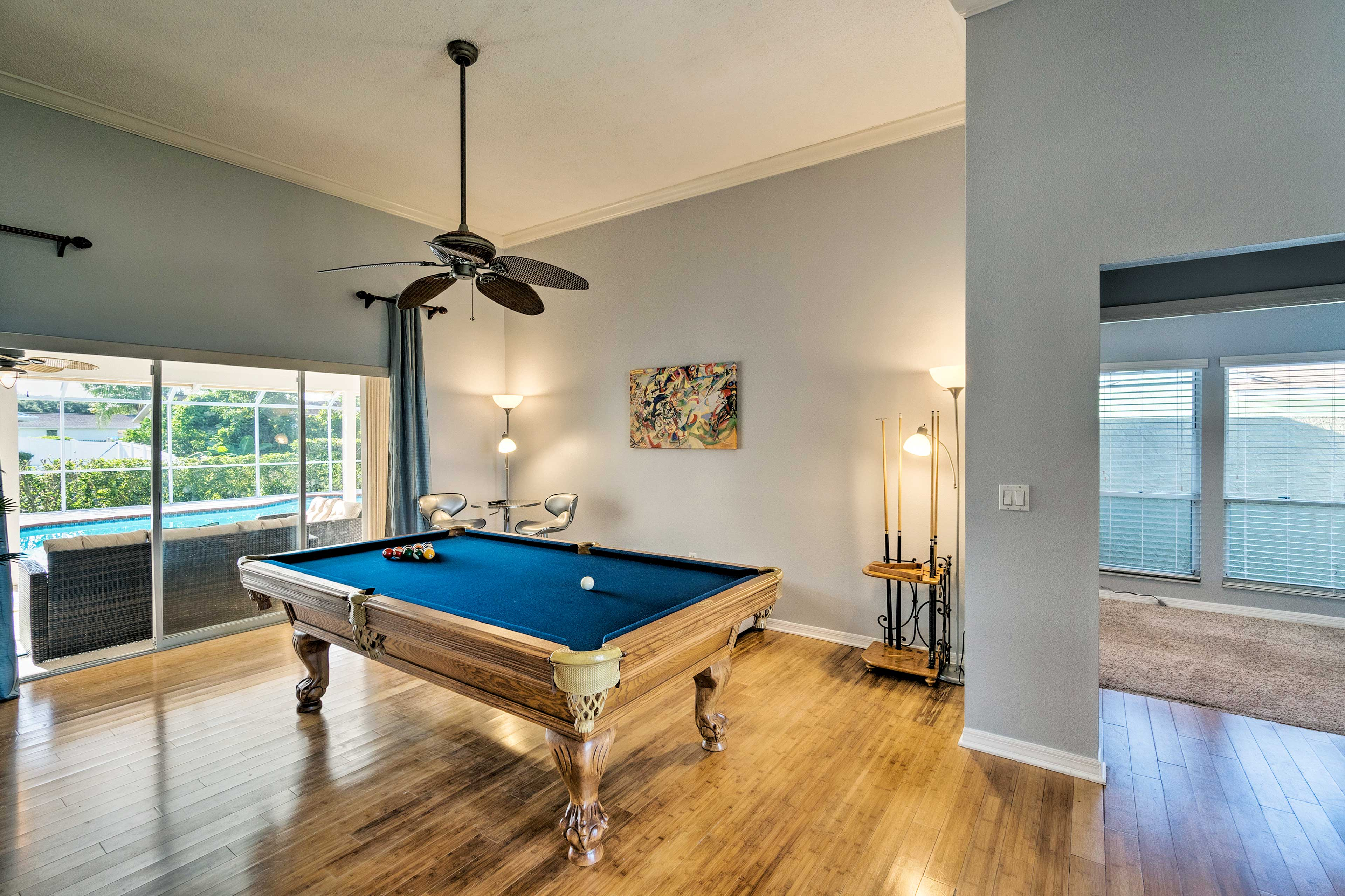 Pool sharks will love playing at the Billiards table.