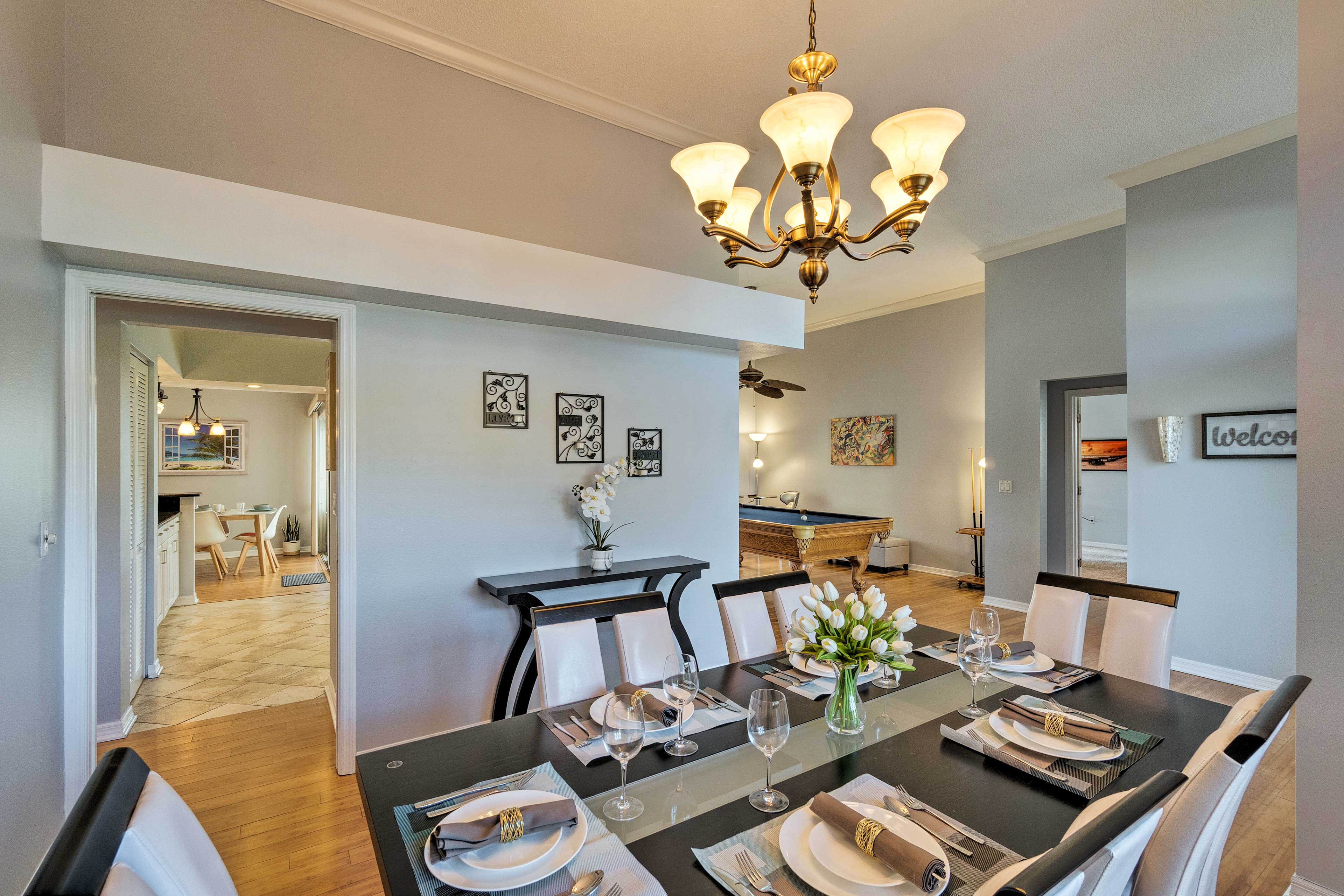 Elegant dining awaits at the 6-person dining room table.