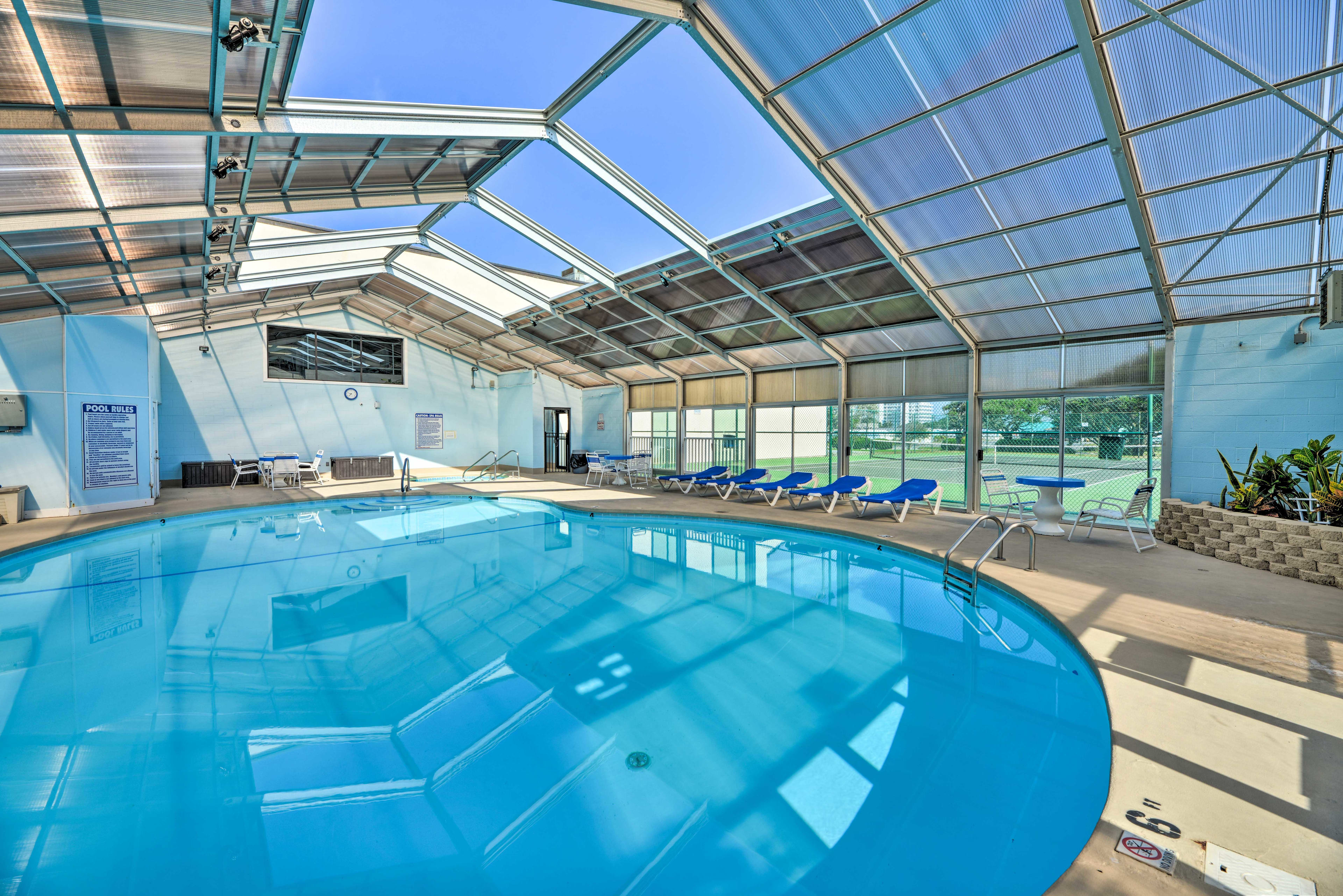The property has hot tubs, an indoor pool, outdoor pool, and more!
